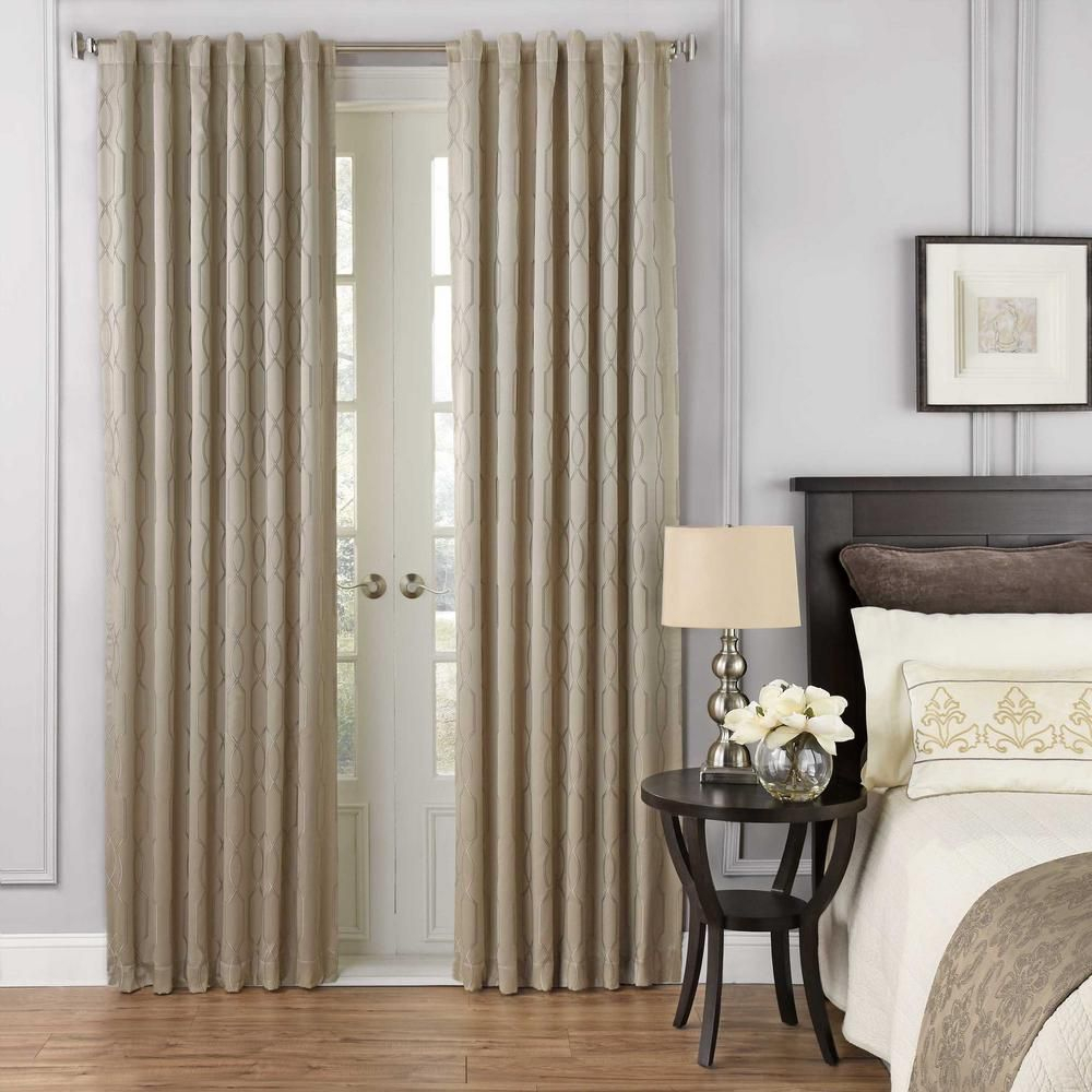 Beautyrest Yvon Blackout Window Curtain Panel In Champagne Inside Inez Patio Door Window Curtain Panels (View 7 of 20)