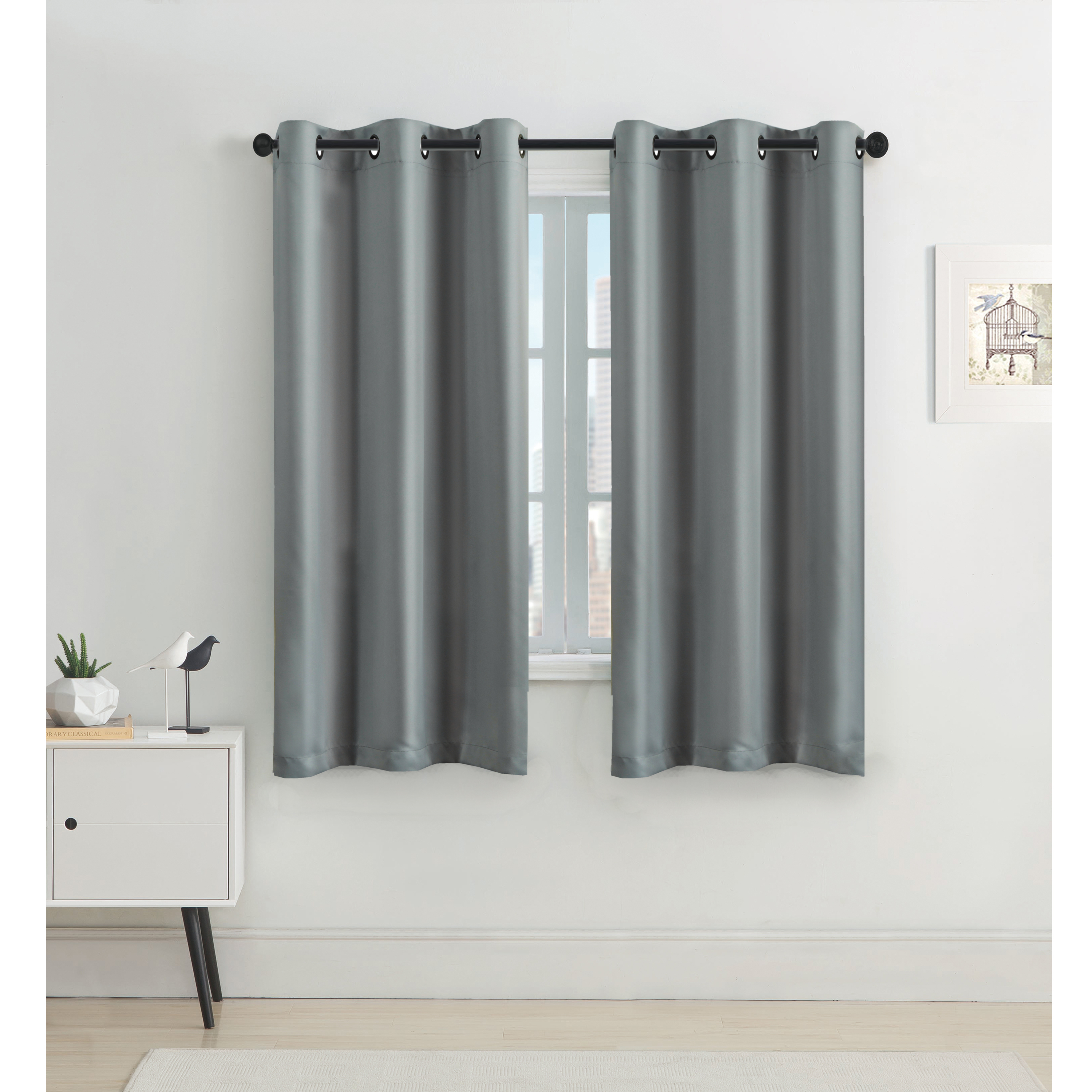 Bedroom Blackout Curtain Panel Home Fashion All Season Solid Grommet Top  Curtain / Panel, 42W X L63 One Panel Dove Gray Regarding All Seasons Blackout Window Curtains (Image 5 of 20)
