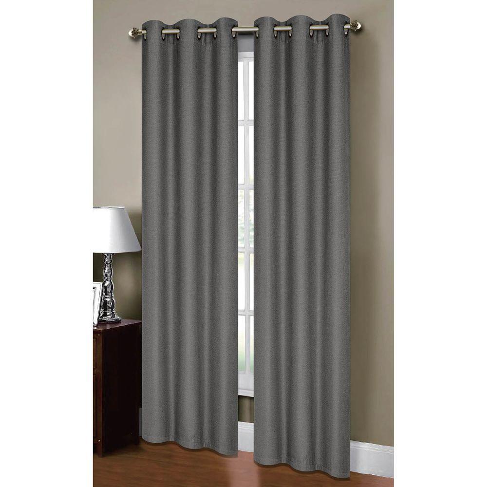 Bella Luna Semi-Opaque Henley Faux Linen 84 In. L Room Darkening Grommet  Curtain Panel Pair, Charcoal (Set Of 2) with regard to Grommet Room Darkening Curtain Panels (Image 2 of 20)