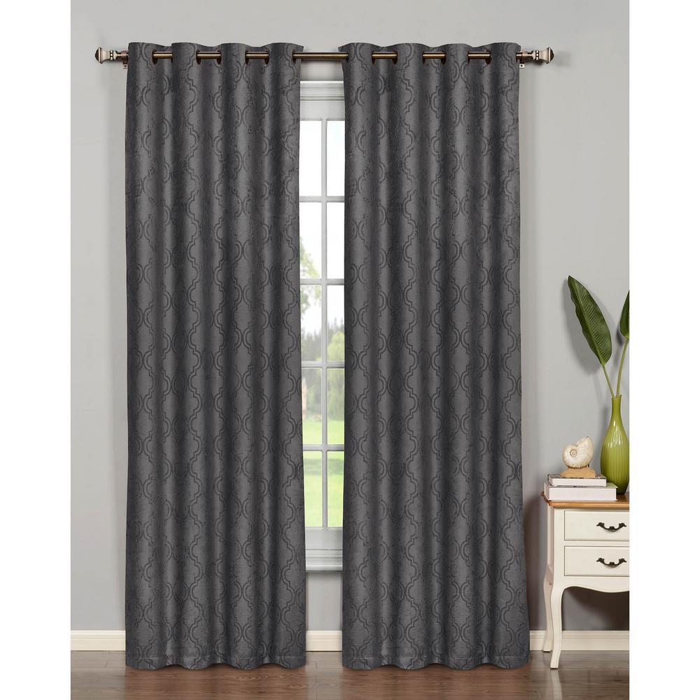 Bella Luna Semi-Opaque Newbury Lattice 54 In. W X 84 In. L Room Darkening  Grommet Extra Wide Curtain Panel In Charcoal with regard to Grommet Room Darkening Curtain Panels (Image 3 of 20)