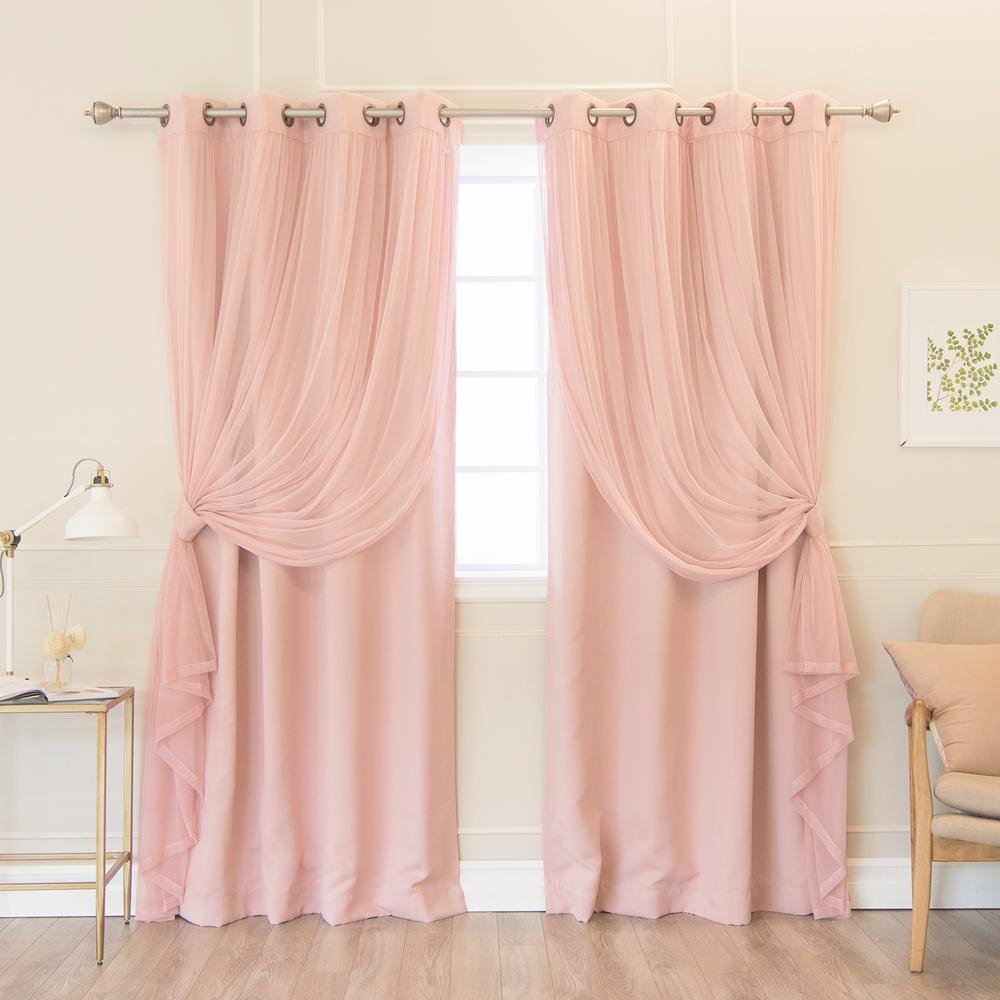 Best Home Fashion 84 In. L Umixm Dusty Pink Tulle And Blackout Curtain  Panel (4-Pack) with Mix & Match Blackout Tulle Lace Bronze Grommet Curtain Panel Sets (Image 12 of 20)