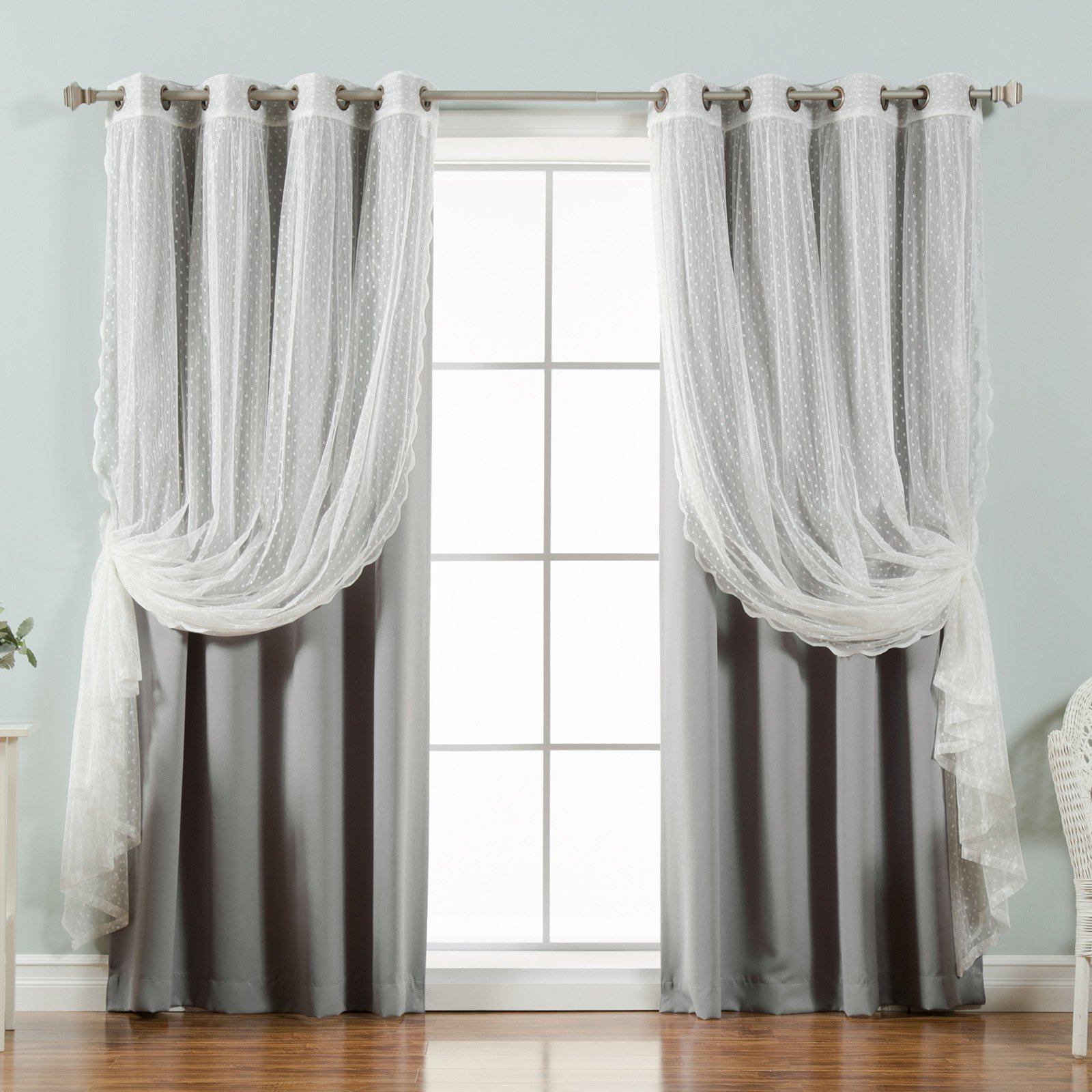 Best Home Fashion Dotted Tulle Blackout Mix & Match Curtain In Mix And Match Blackout Blackout Curtains Panel Sets (View 16 of 20)