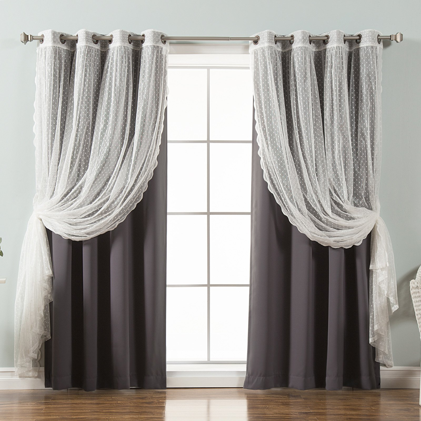 Best Home Fashion Dotted Tulle Blackout Mix & Match Curtain Within Mix And Match Blackout Blackout Curtains Panel Sets (View 8 of 20)