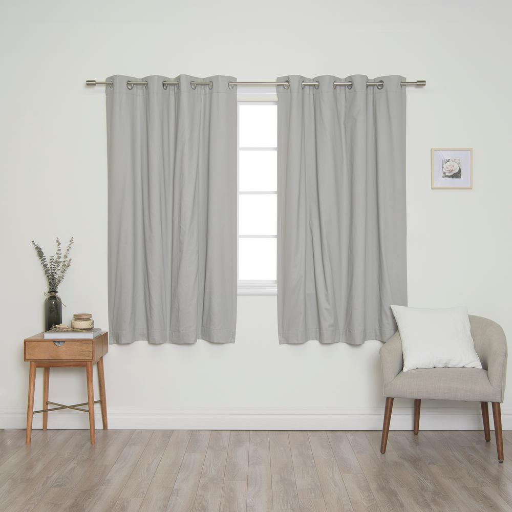 Best Home Fashion Grey Solid Cotton Blackout Thermal Grommet Curtain Panel Set – 52 In. X 63 In (View 8 of 30)