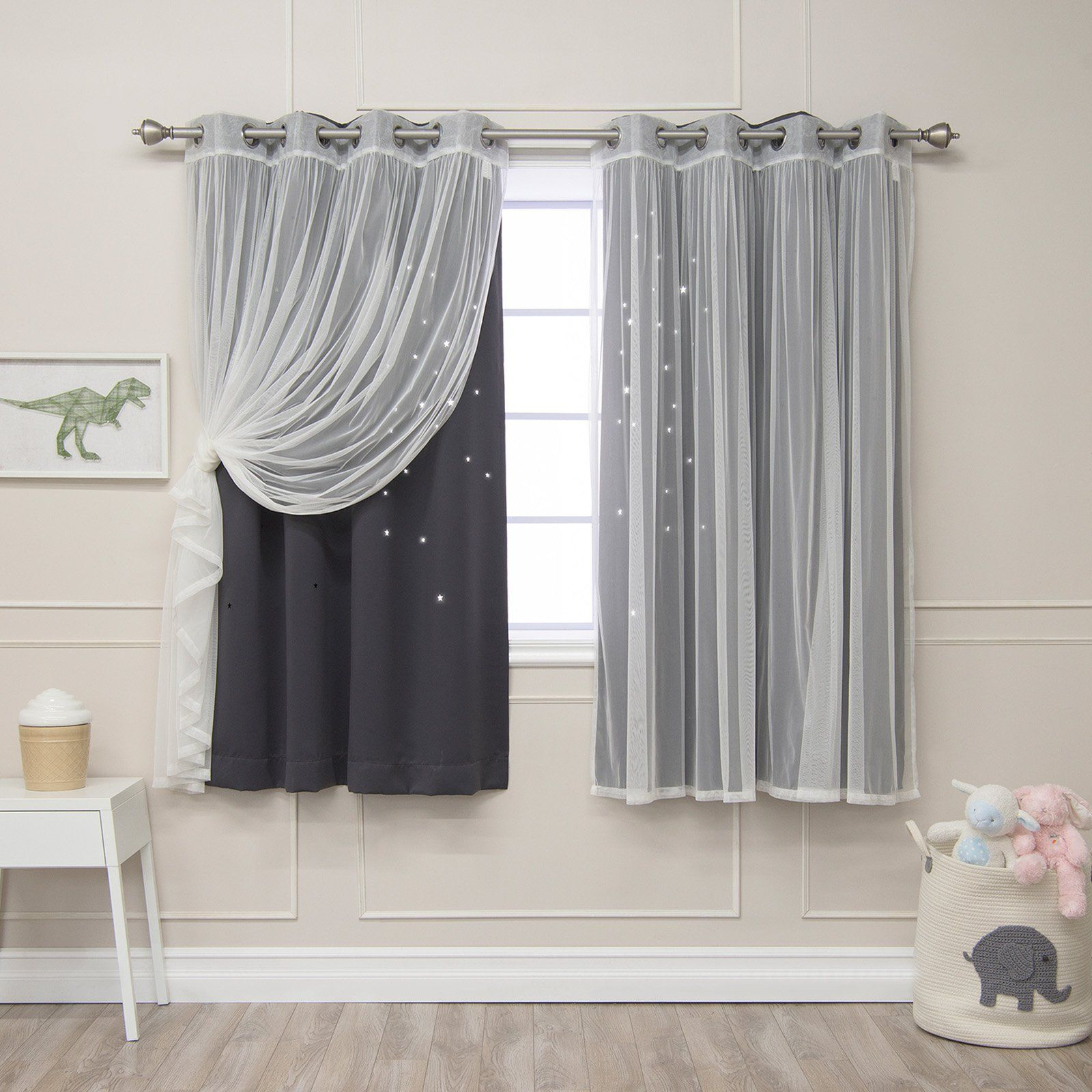 Best Home Fashion Mix And Match Star Punch Blackout And In Star Punch Tulle Overlay Blackout Curtain Panel Pairs (View 22 of 30)