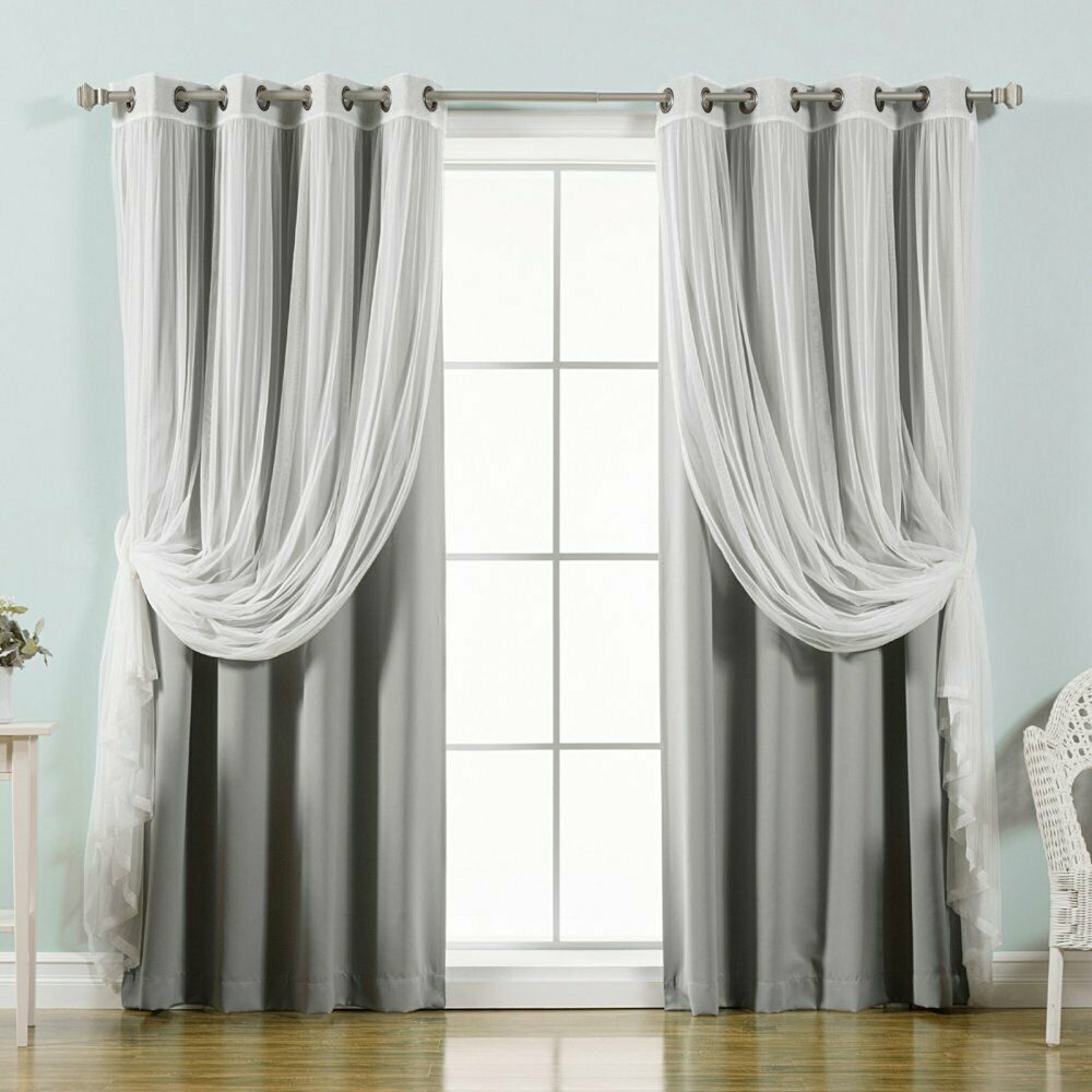 Best Home Fashion Mix & Match Tulle Sheer Lace Blackout Curtain – Set Of 4 Intended For Mix And Match Blackout Tulle Lace Sheer Curtain Panel Sets (View 20 of 20)