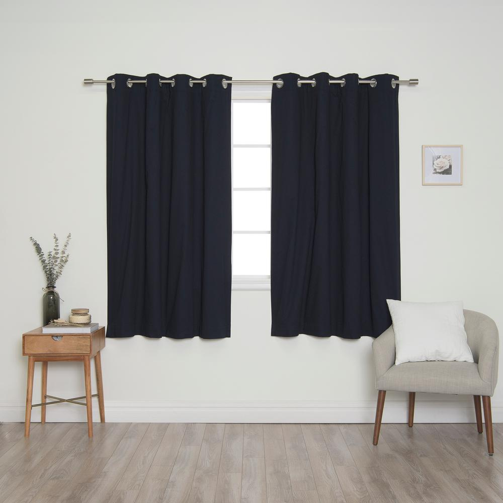Best Home Fashion Navy Solid Cotton Blackout Thermal Grommet Curtain Panel Set – 52 In. X 63 In (View 9 of 30)