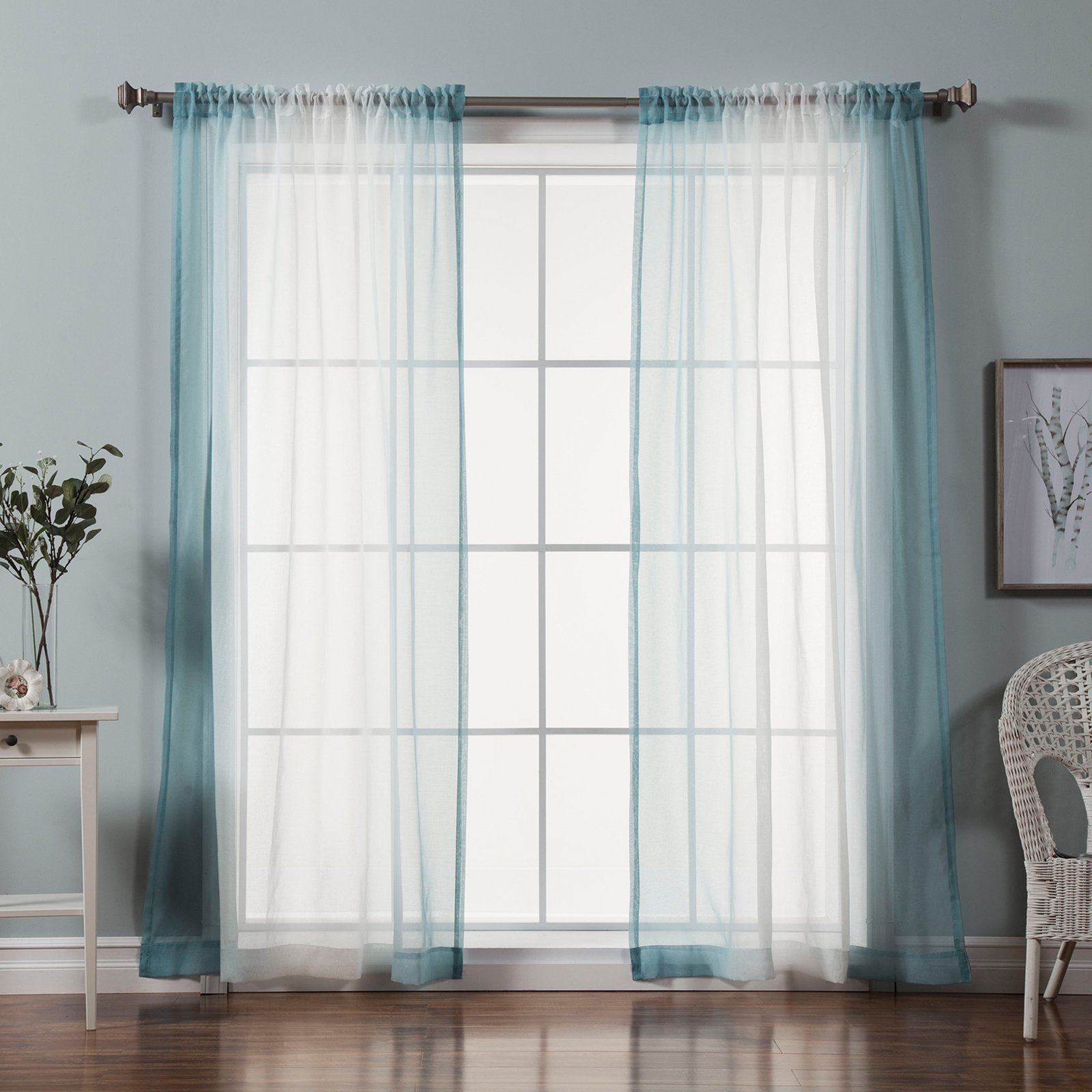 Best Home Fashion Sheer Faux Linen Ombre Border Curtains In Ombre Faux Linen Semi Sheer Curtains (View 15 of 20)