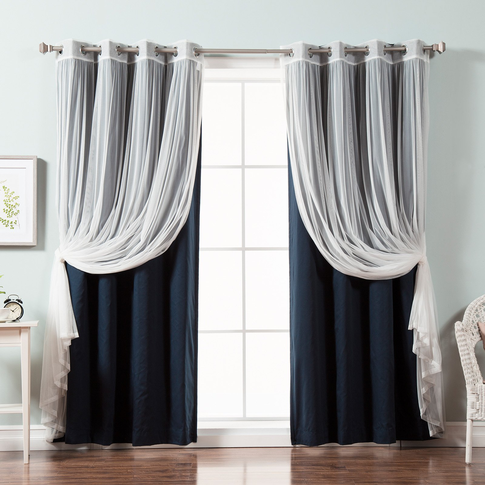 Best Home Fashion Tulle Lace And Solid Cotton Blackout Mix & Match Curtain Panels – Set Of 4 Intended For Solid Cotton Curtain Panels (View 10 of 30)