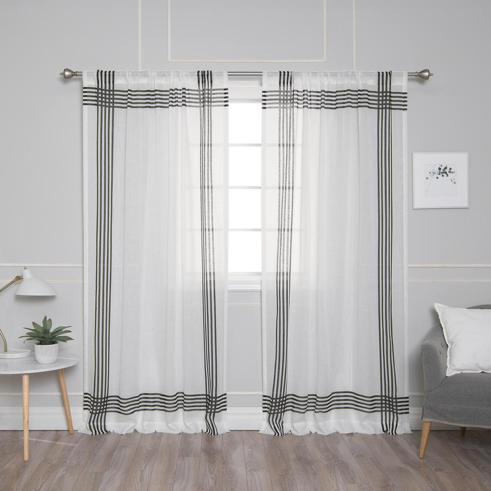Best Home Fashion White Sheer Cross Stripe Border Curtain – 52 In. W X 84 In (View 13 of 20)