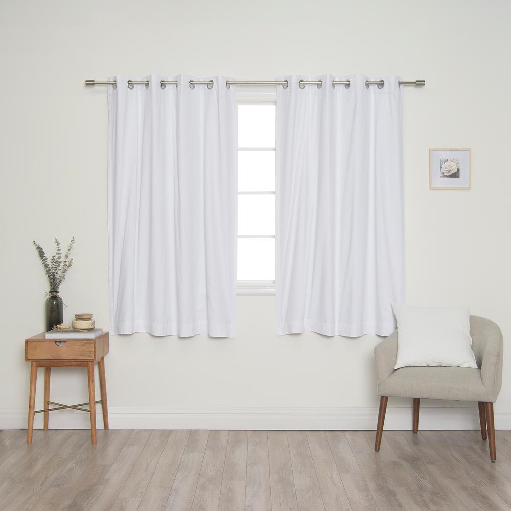 Best Home Fashion White Solid Cotton Blackout Thermal Grommet Curtain Panel Set – 52 In. X 63 In (View 11 of 30)