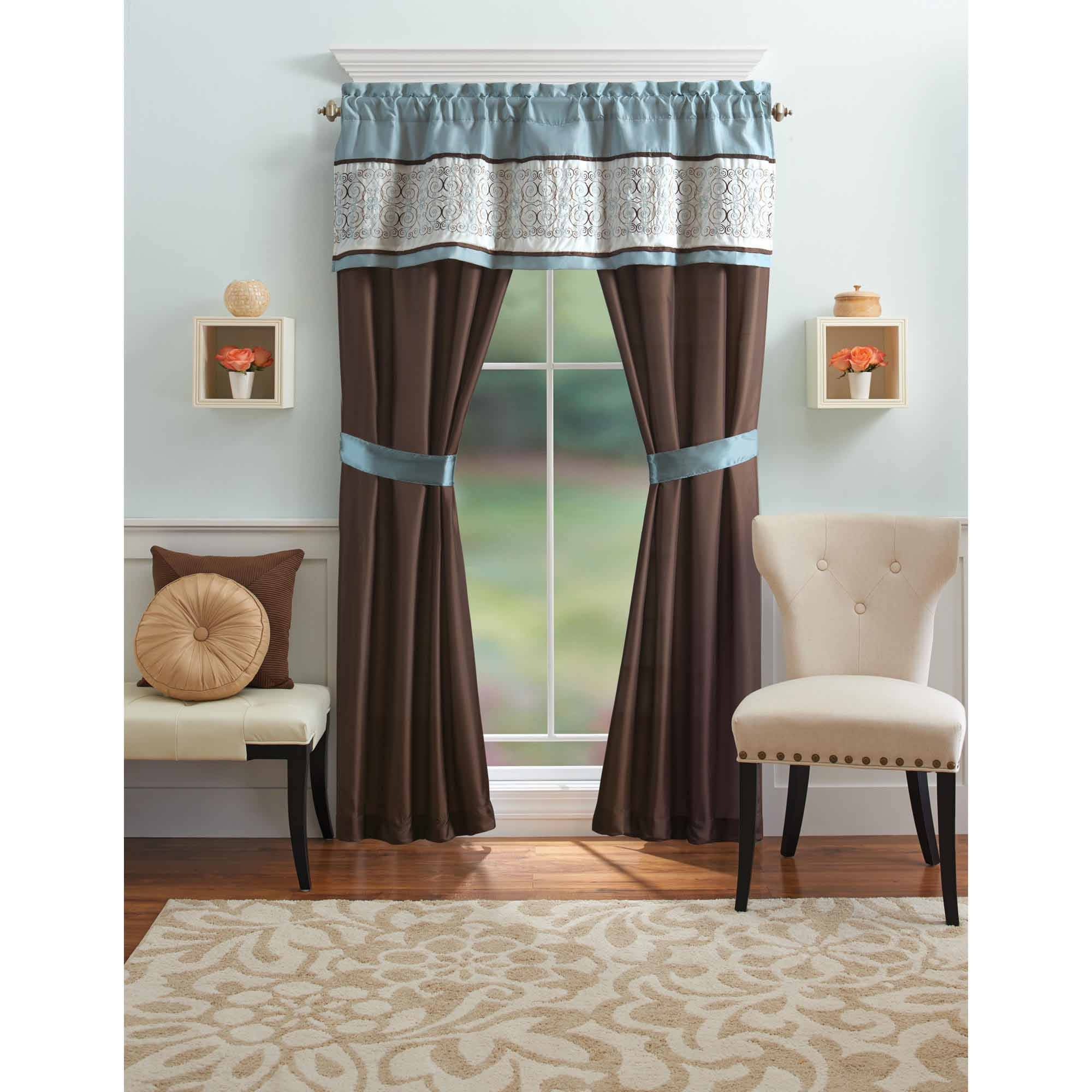 Better Homes And Gardens Blue Ombre Scroll 5 Piece Window Curtains Set, Curtain Panels And Valance Included For Ombre Embroidery Curtain Panels (View 16 of 20)