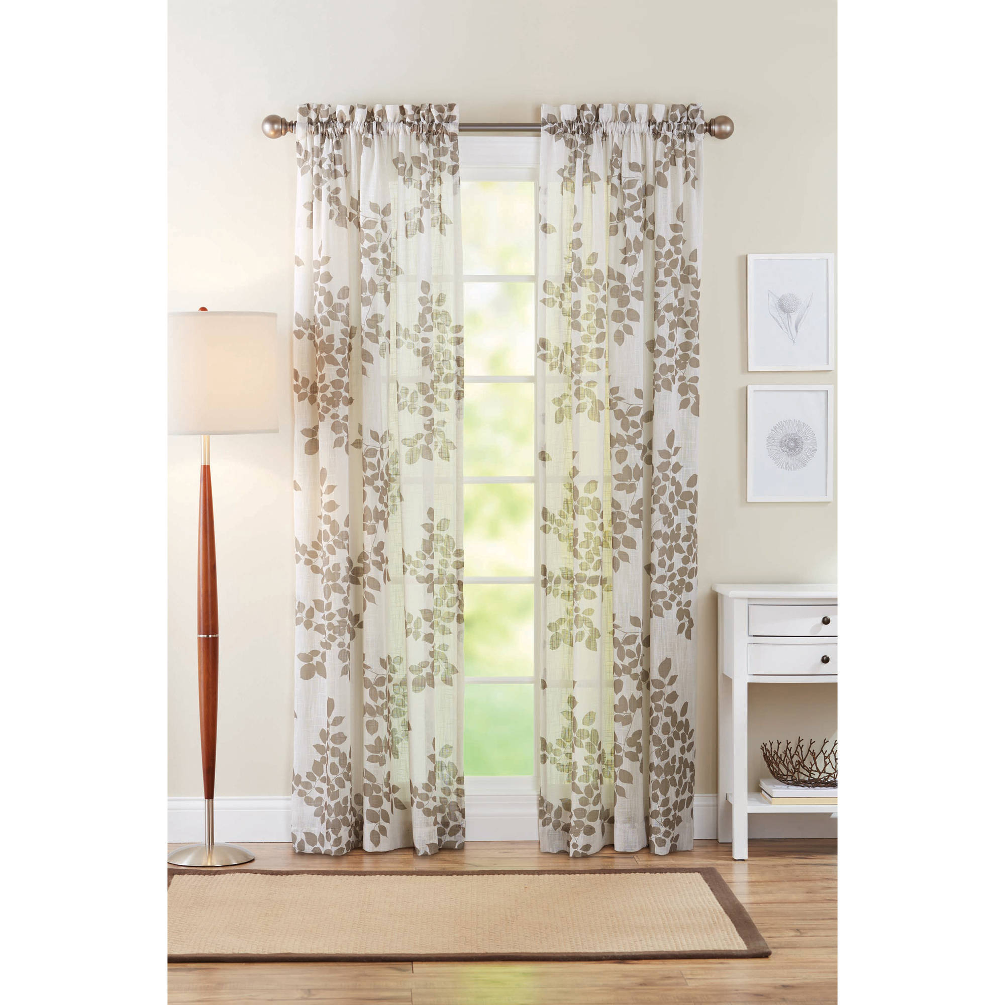 Better Homes And Gardens Faux Linen Leaves Polyester Curtain Panel, Taupe Intended For Heavy Faux Linen Single Curtain Panels (View 19 of 20)