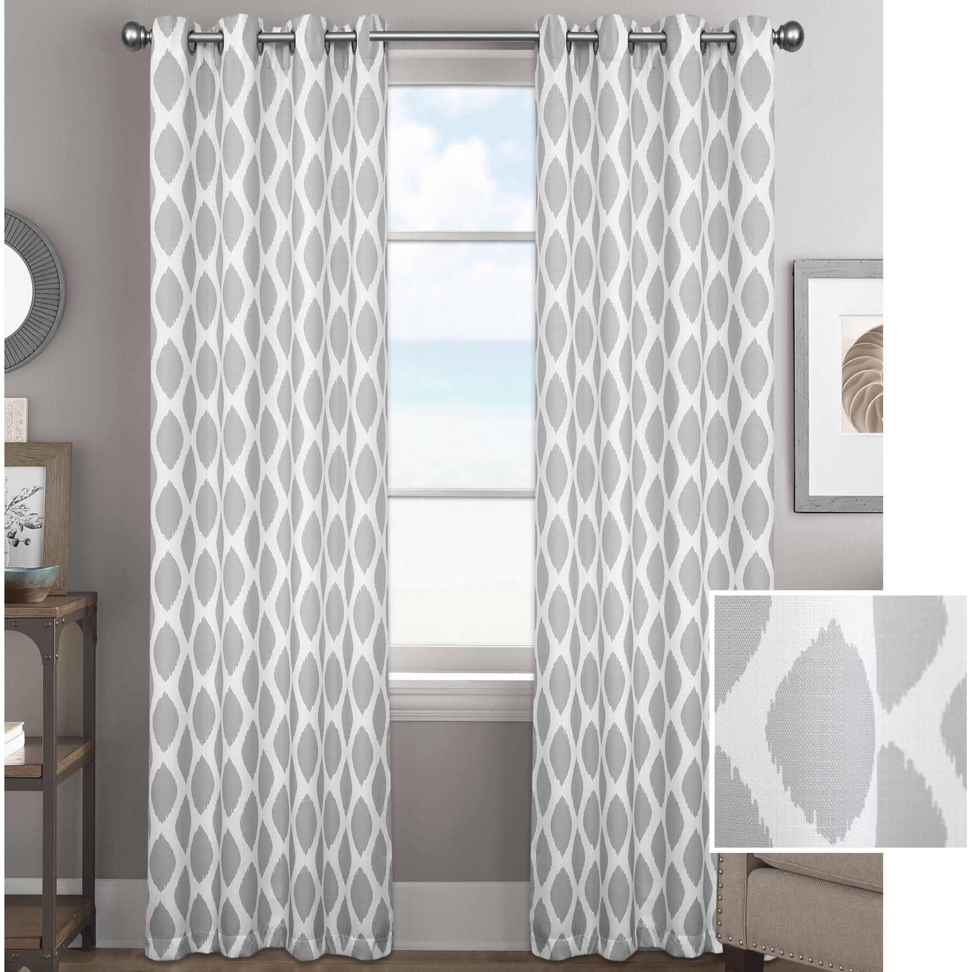 Better Homes And Gardens Ikat Diamonds Curtain Panel Inside Grey Printed Curtain Panels (View 10 of 20)