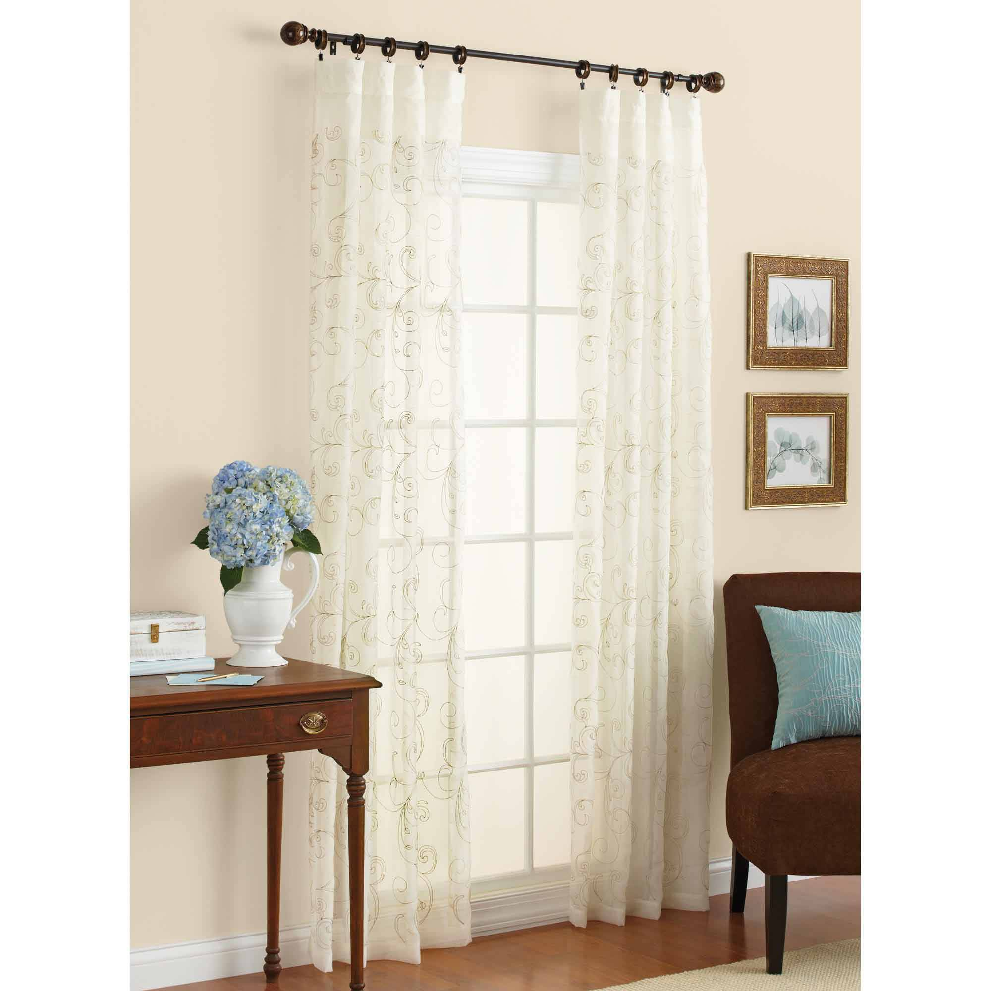 Better Homes & Gardens Embroidered Sheer Curtain Panel – Walmart Throughout Kida Embroidered Sheer Curtain Panels (View 5 of 20)