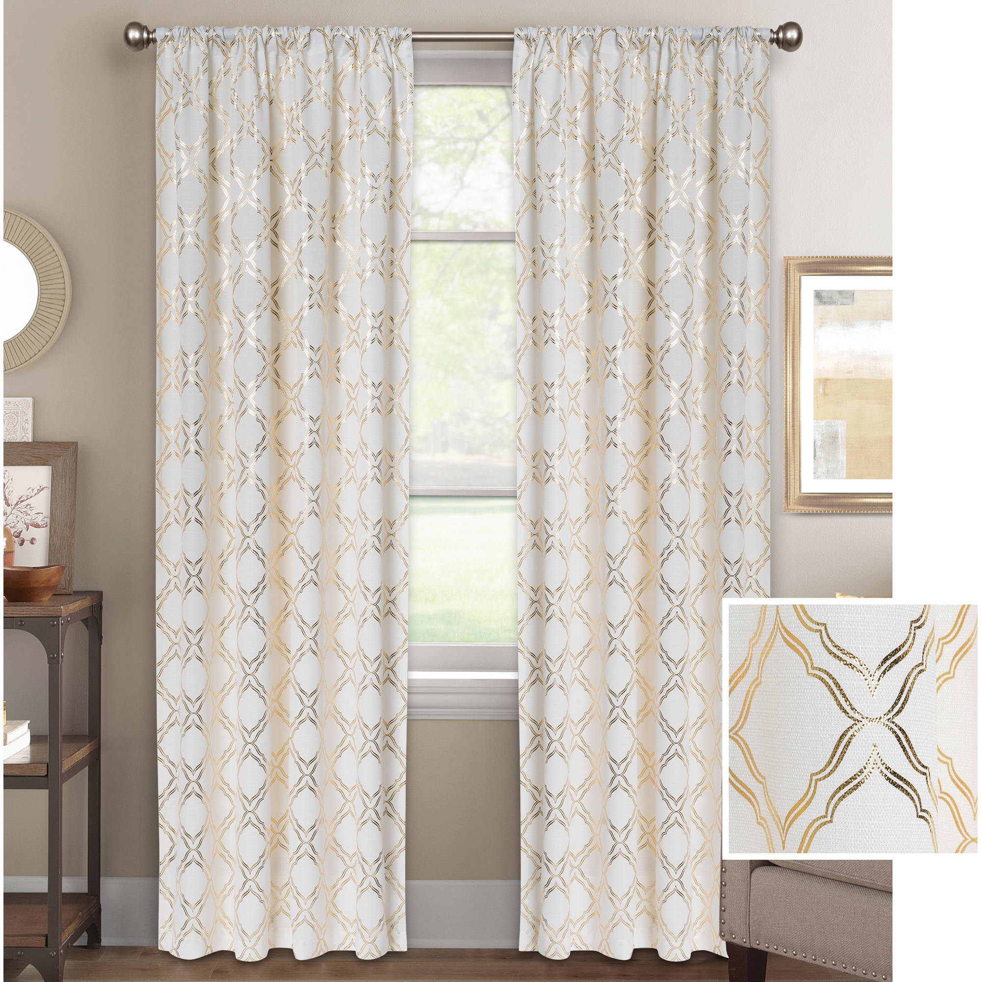 Better Homes & Gardens Metallic Foil Trellis Curtain Panel With Regard To Grey Printed Curtain Panels (View 17 of 20)