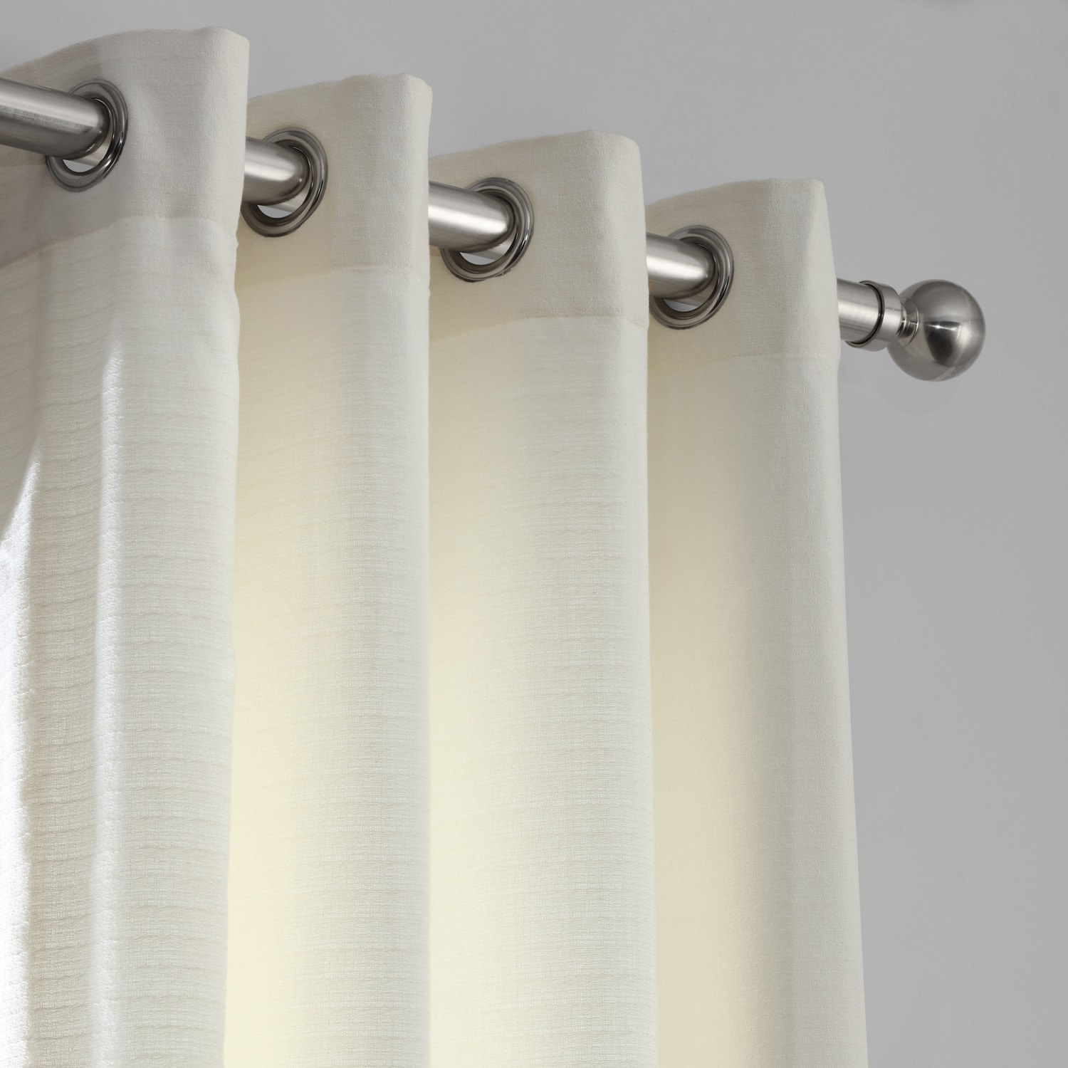 Birch Bark Weave Solid Cotton Grommet Curtain Inside Ombre Stripe Yarn Dyed Cotton Window Curtain Panel Pairs (View 16 of 20)