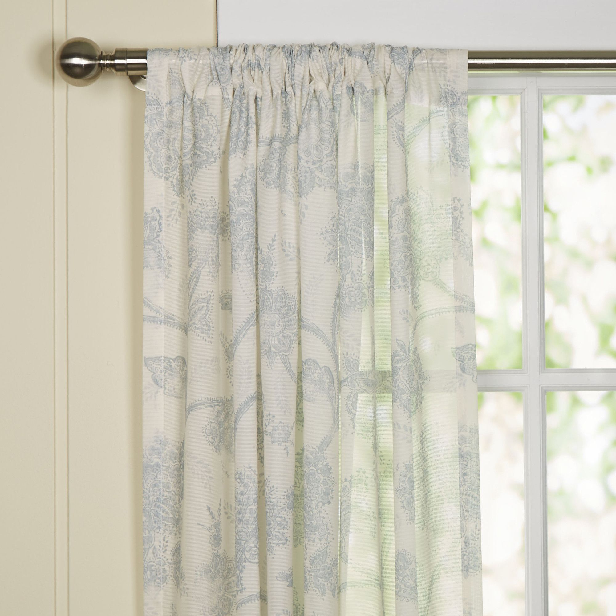 Birch Lane Parisa Single Sheer Curtain Panel & Reviews Within Archaeo Jigsaw Embroidery Linen Blend Curtain Panels (View 7 of 20)