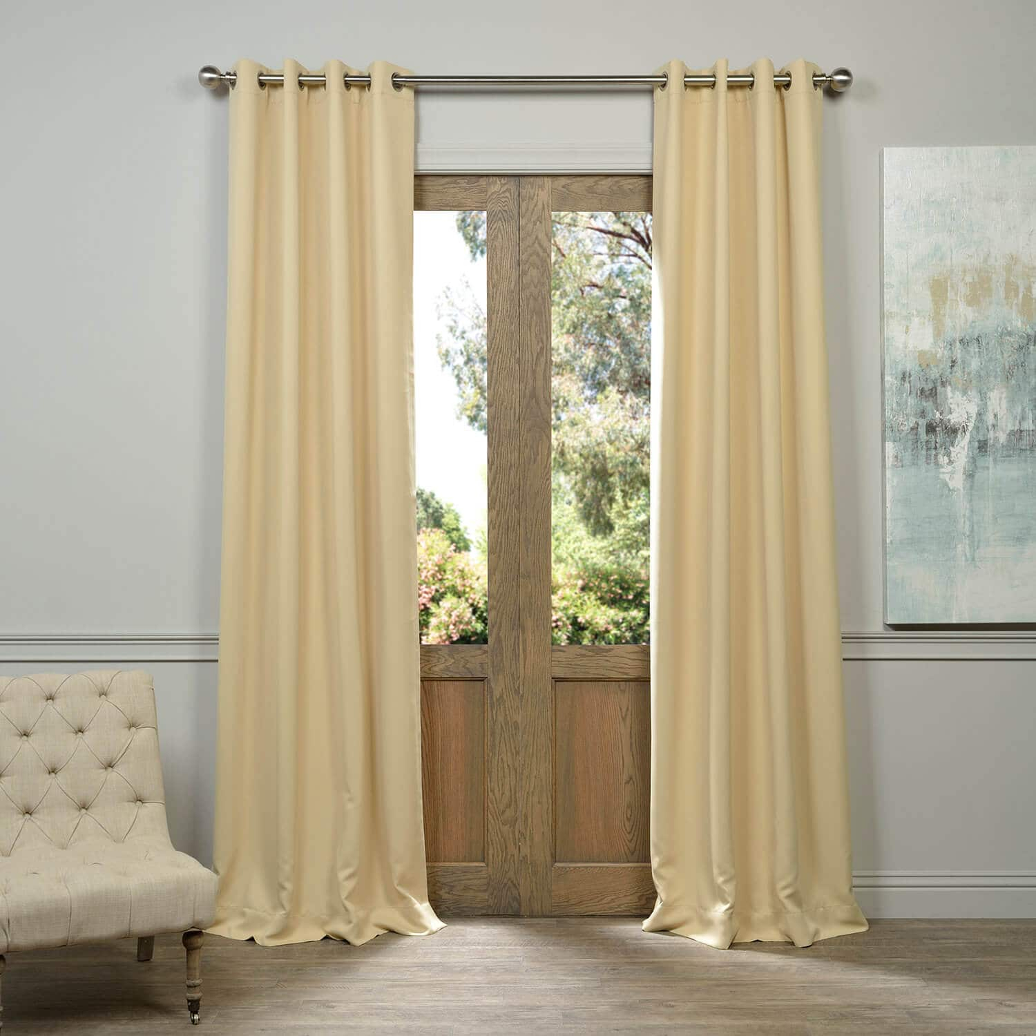 Biscotti Grommet Blackout Curtain Pertaining To Solid Faux Silk Taffeta Graphite Single Curtain Panels (View 2 of 30)