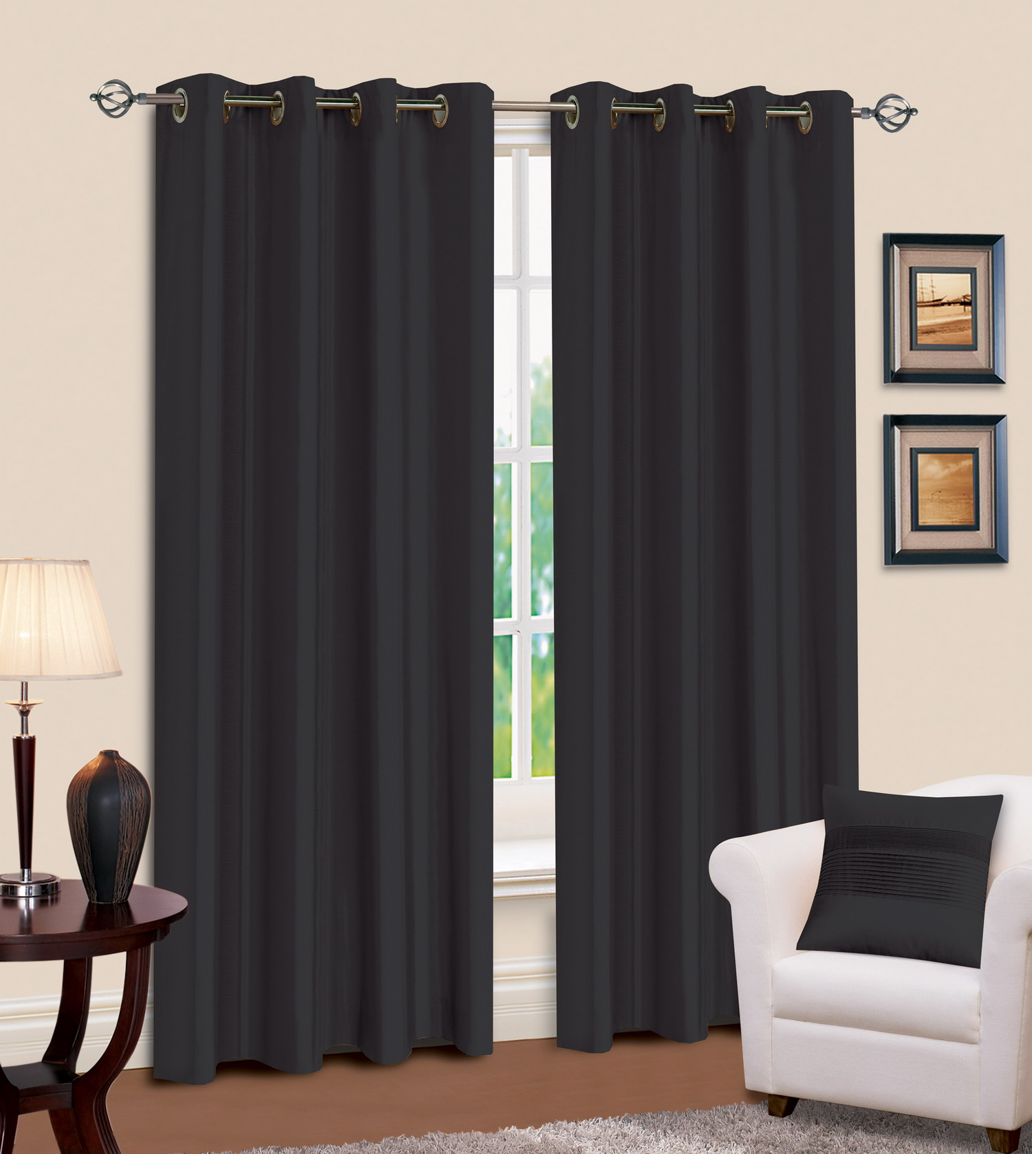 Black Faux Silk Pencil Pleat Curtains Throughout Overseas Faux Silk Blackout Curtain Panel Pairs (View 19 of 20)