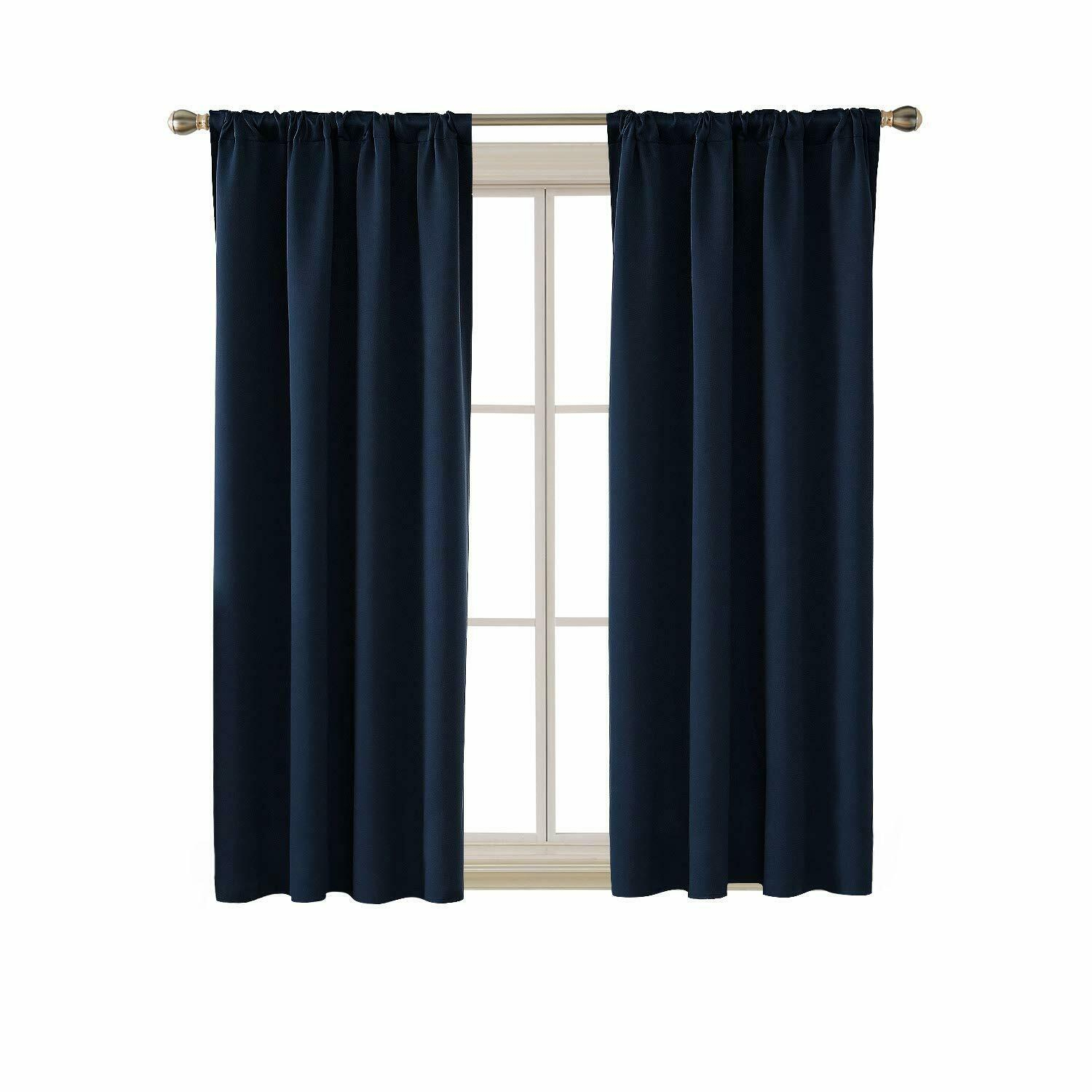 Blackout Curtain Thermal Insulated Rod Pocket Room Darkening For Bedroom,2 Panel Intended For Thermal Rod Pocket Blackout Curtain Panel Pairs (View 15 of 30)