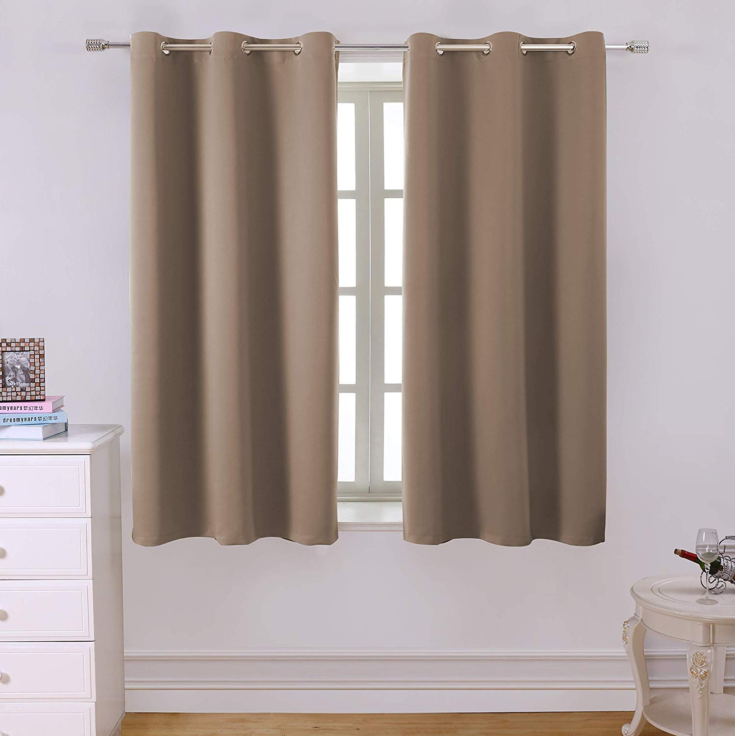 Blackout Curtains Room Darkening Thermal Insulated With Grommet Window  Curtain For Bedroom 2 Panels Regarding All Seasons Blackout Window Curtains (Image 8 of 20)