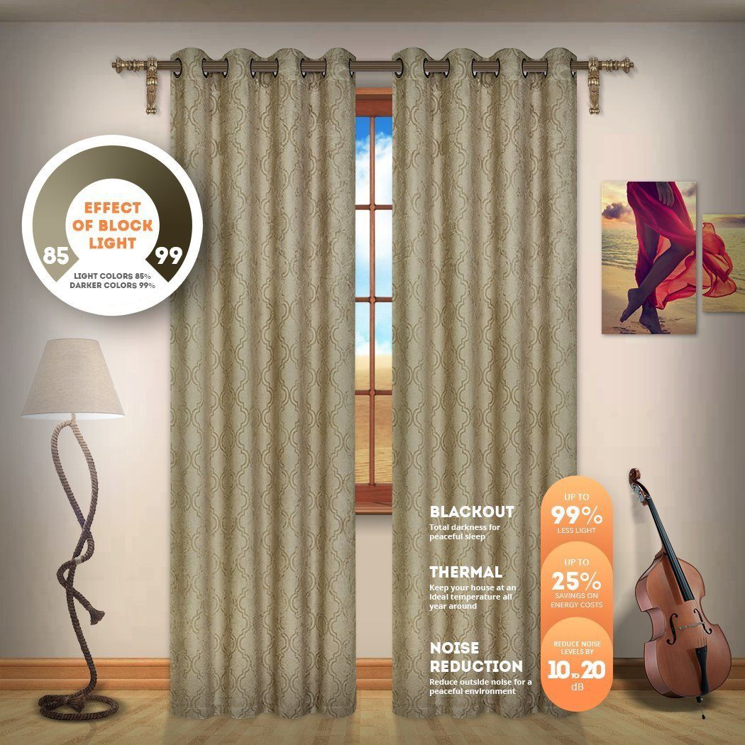 Blackout Weave Embossed Curtain Panels   Block Light And Regarding Embossed Thermal Weaved Blackout Grommet Drapery Curtains (View 11 of 20)
