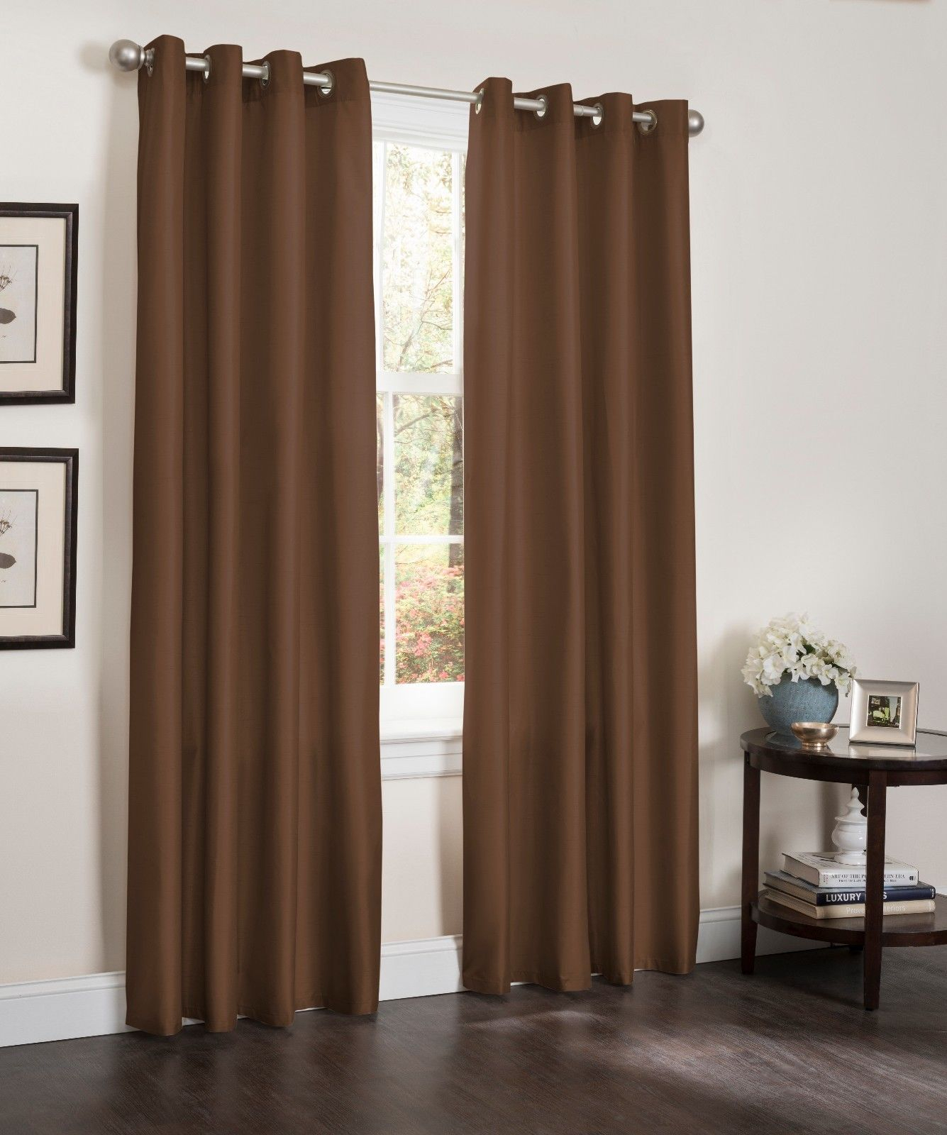 "Blackout Window Curtain Panel, 54"" X 90"", Faux Silk Thermal Insulated Grommet Top, Erin, 1 Panel (Chocolate) For Insulated Blackout Grommet Window Curtain Panel Pairs (View 6 of 20)"