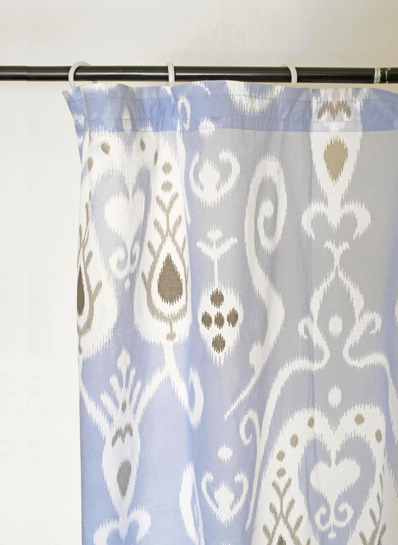 Blue Ikat Curtain Panel, Cotton Voile, Printed Curtain, Sheer Drape, Sizes Available Pertaining To Ikat Blue Printed Cotton Curtain Panels (View 2 of 20)