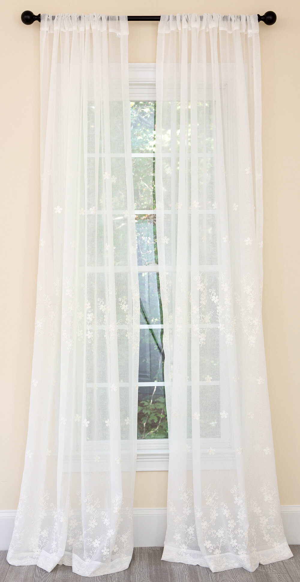 Boothe Blossom Embroidered Floral Sheer Rod Pocket Single Curtain Panel With Kida Embroidered Sheer Curtain Panels (View 18 of 20)
