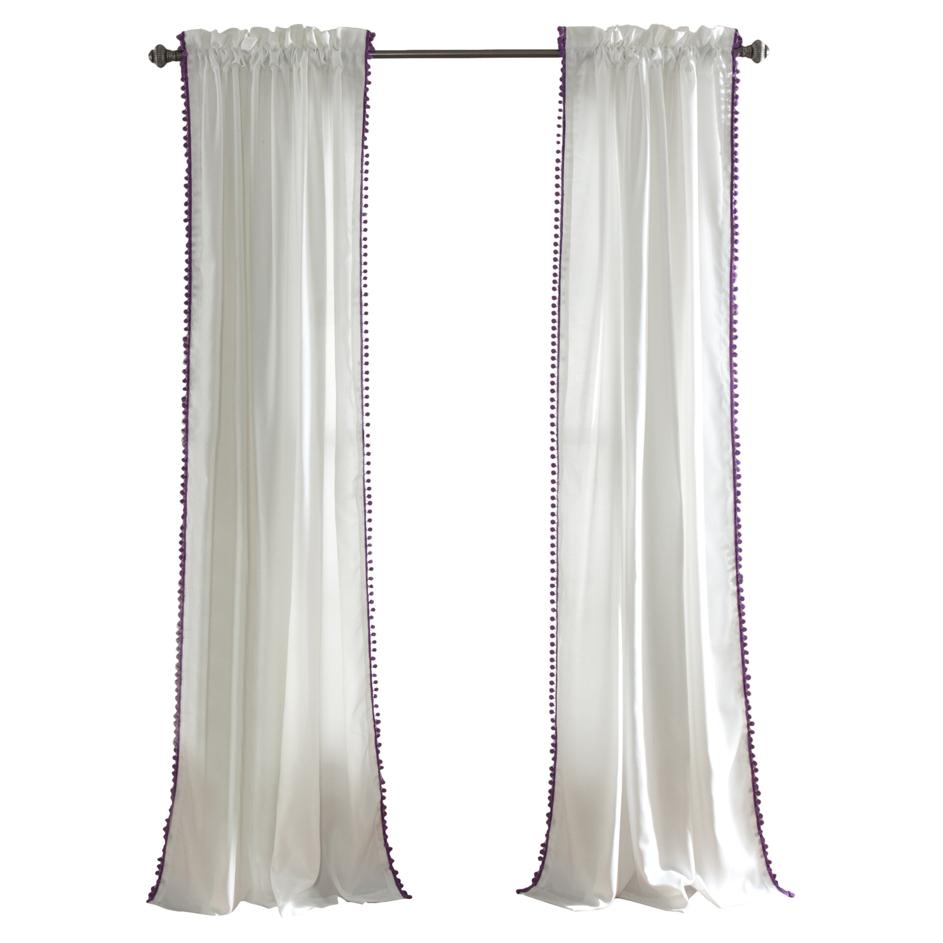 Brannon Solid Sheer Rod Pocket Single Curtain Panel For Tassels Applique Sheer Rod Pocket Top Curtain Panel Pairs (View 13 of 30)