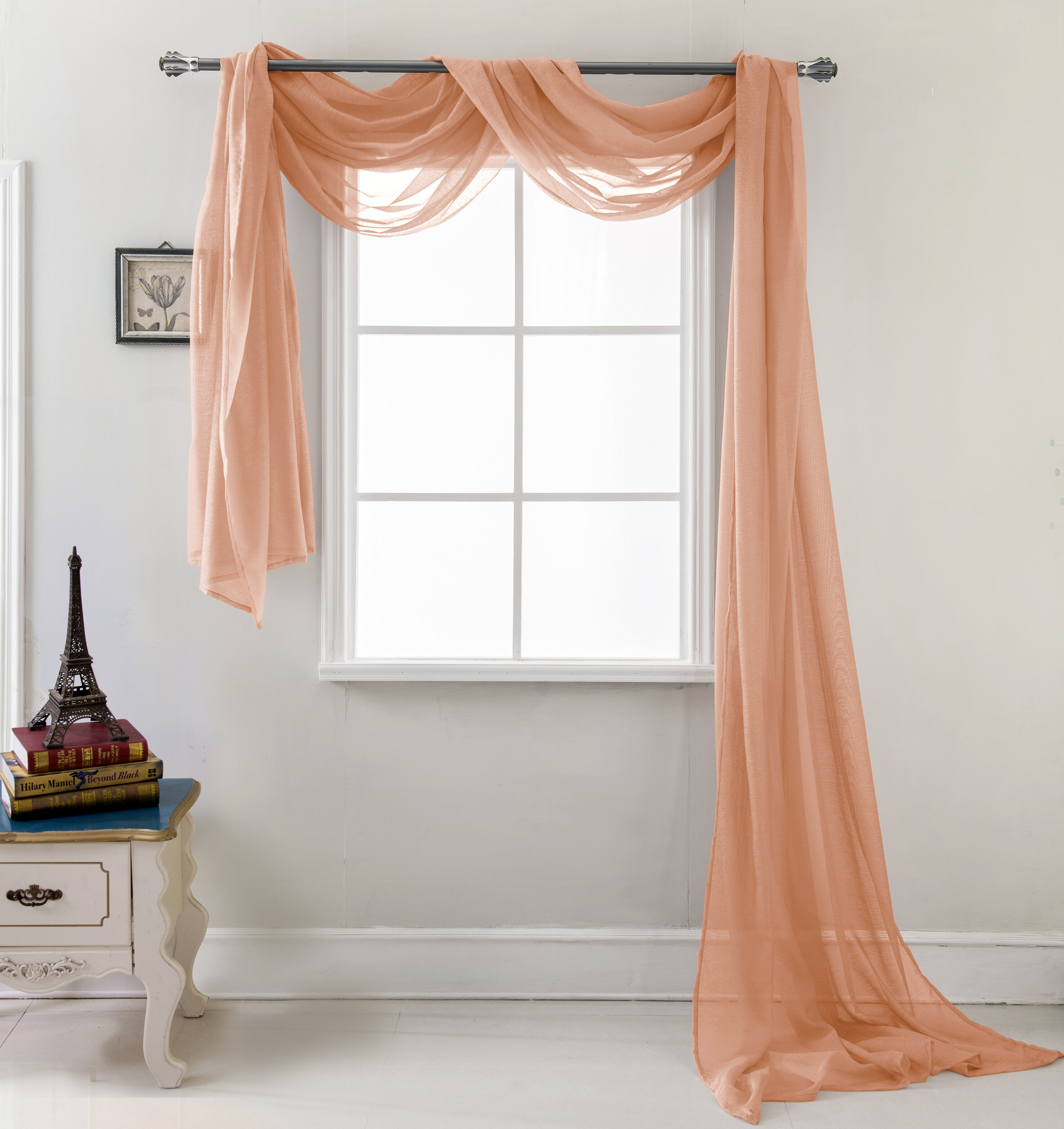 Brannon Solid Sheer Window Scarf Inside Andorra Watercolor Floral Textured Sheer Single Curtain Panels (View 16 of 20)