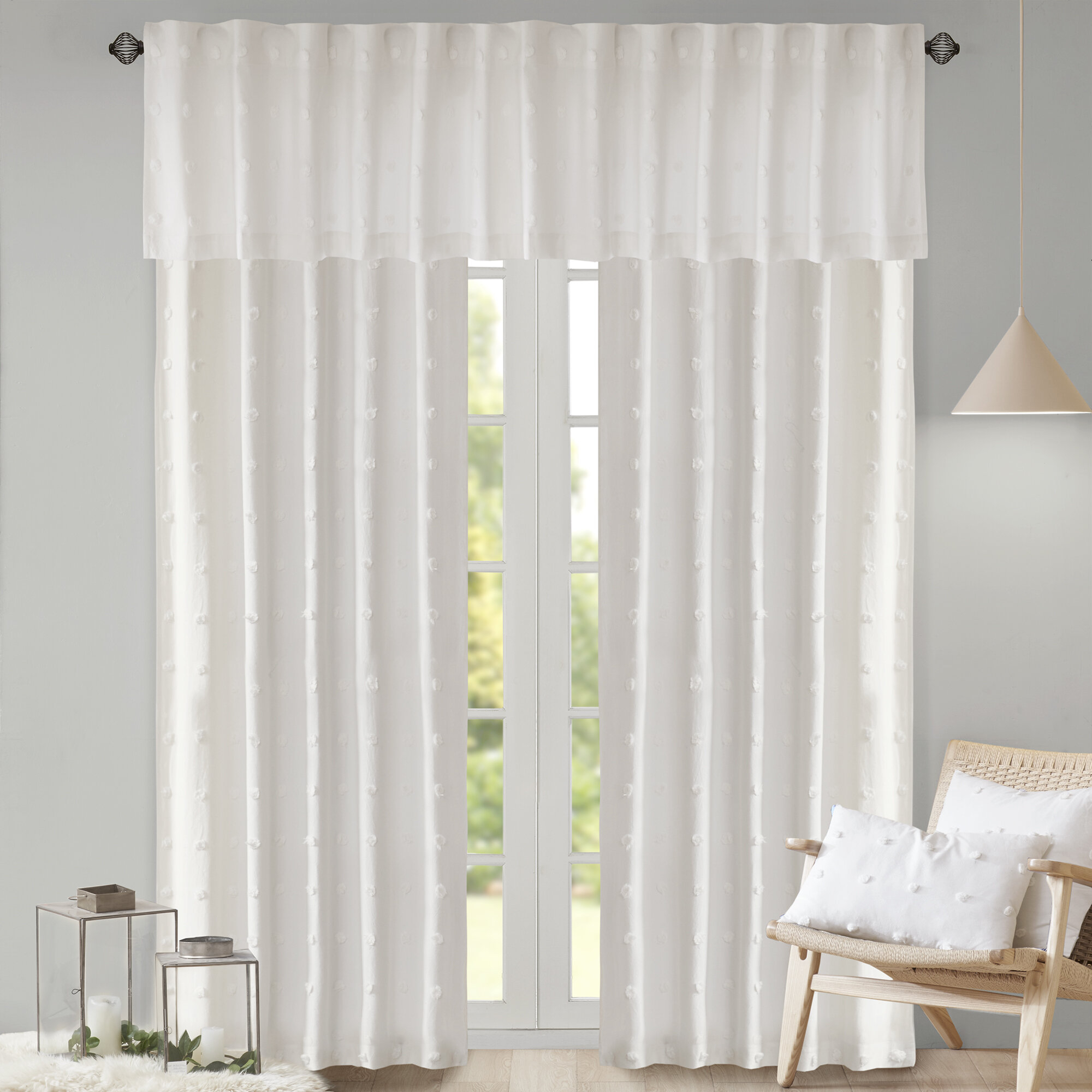 Braunste Cotton Jacquard Pom Pom Window Solid Rod Pocket Single Curtain Panel With Solid Cotton Curtain Panels (View 12 of 30)