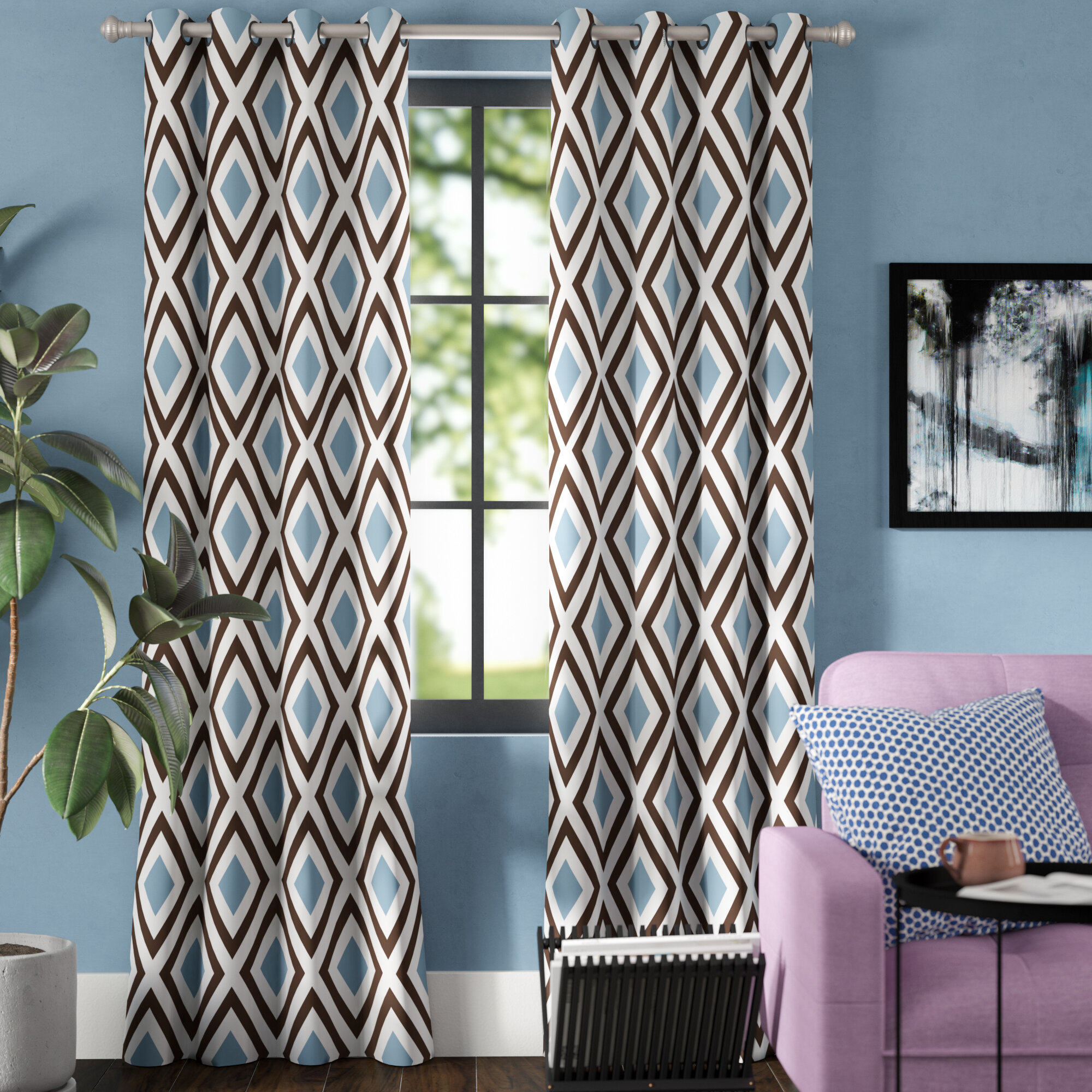 Brayden Studio Saint Catherine Diamond Geometric Room With Regard To Ladonna Rod Pocket Solid Semi Sheer Window Curtain Panels (View 18 of 20)