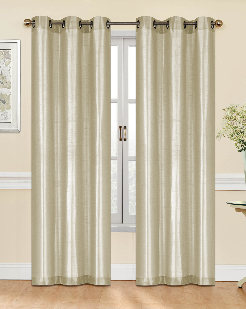 Bridgeton Faux Silk Grommet Curtain Panel Pair With Curtain Panel Pairs (View 17 of 20)