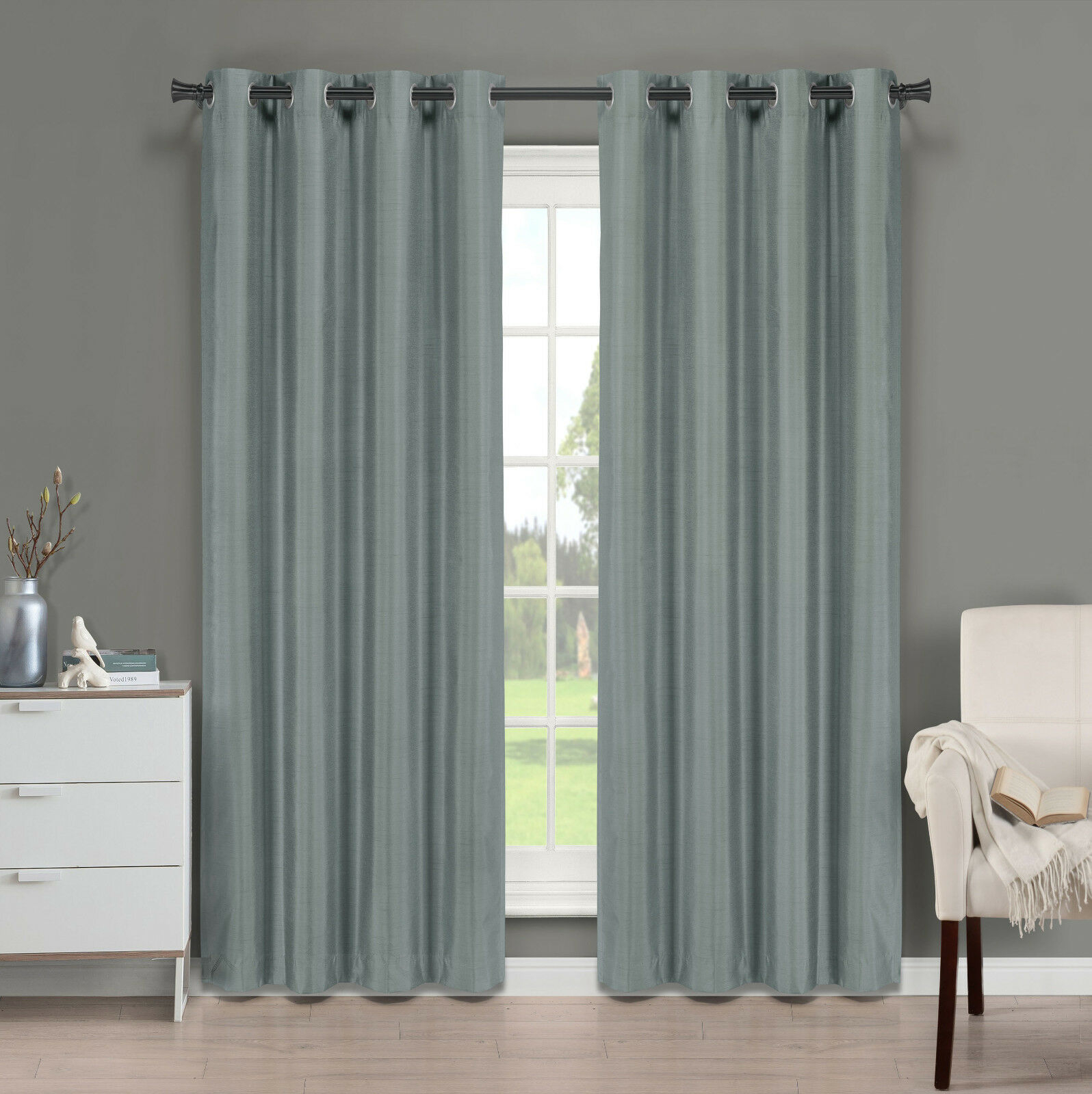 Brielle Fortune Faux Dupioni Silk Lined Curtain Panel For Softline Trenton Grommet Top Curtain Panels (View 3 of 30)