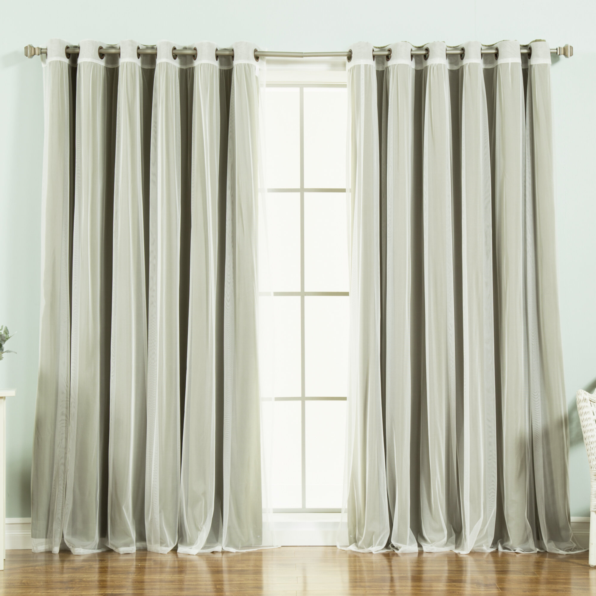 Brunilda Solid Blackout Thermal Grommet Curtain Panels intended for Mix & Match Blackout Tulle Lace Bronze Grommet Curtain Panel Sets (Image 14 of 20)