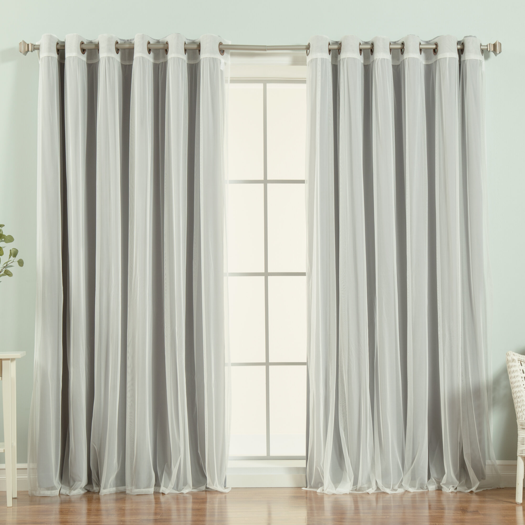 Brunilda Solid Blackout Thermal Grommet Curtain Panels Within Tulle Sheer With Attached Valance And Blackout 4 Piece Curtain Panel Pairs (View 17 of 30)