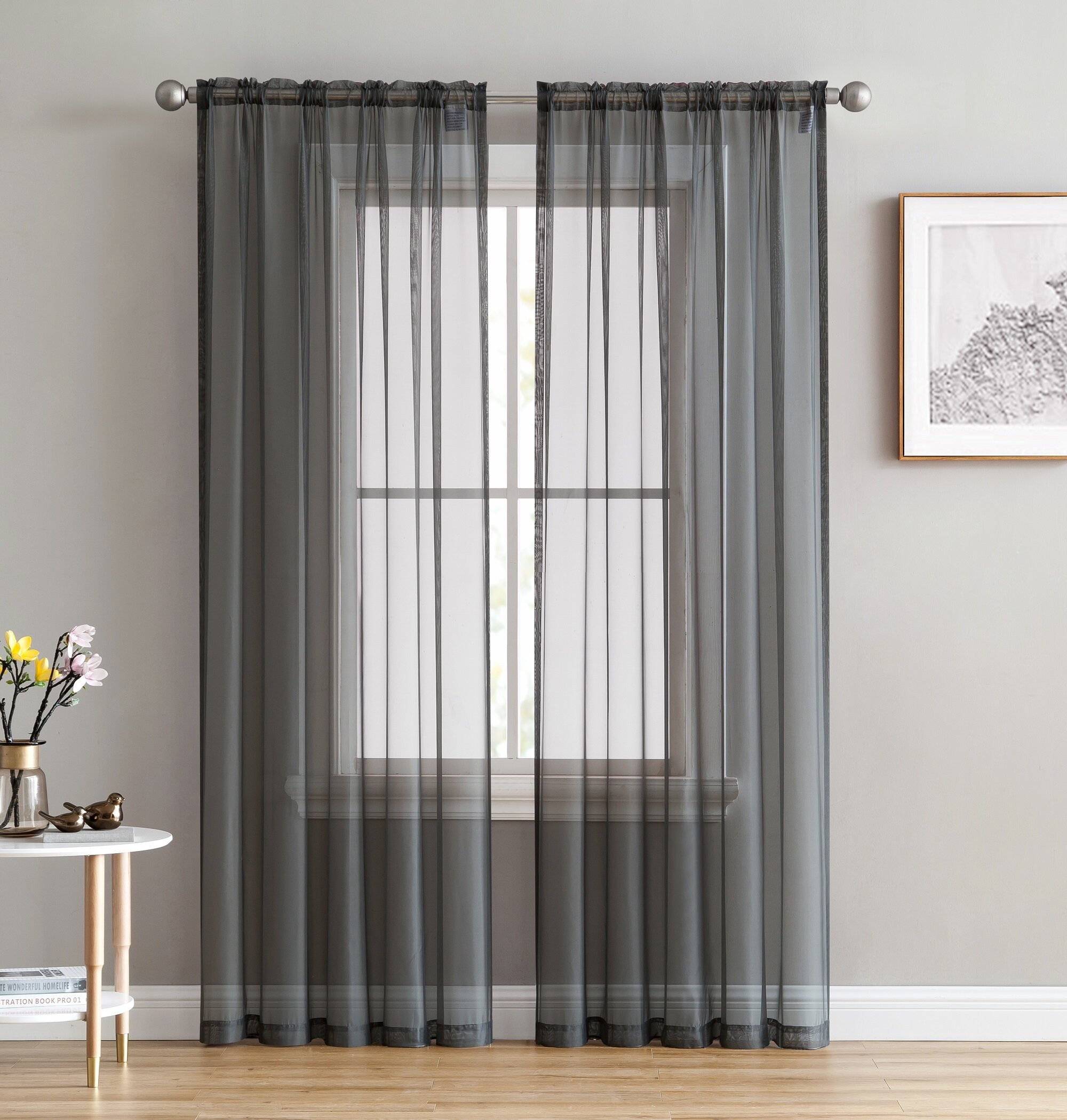 Brushgrove Solid Sheer Rod Pocket Window Curtain Panels With Regard To Emily Sheer Voile Grommet Curtain Panels (View 8 of 20)