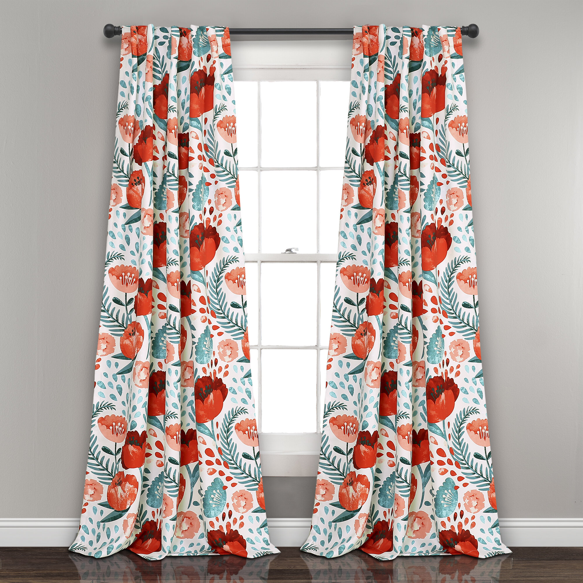 Bryonhall Poppy Garden Floral Room Darkening Thermal Rod Pocket Curtain  Panels with Floral Pattern Room Darkening Window Curtain Panel Pairs (Image 3 of 20)