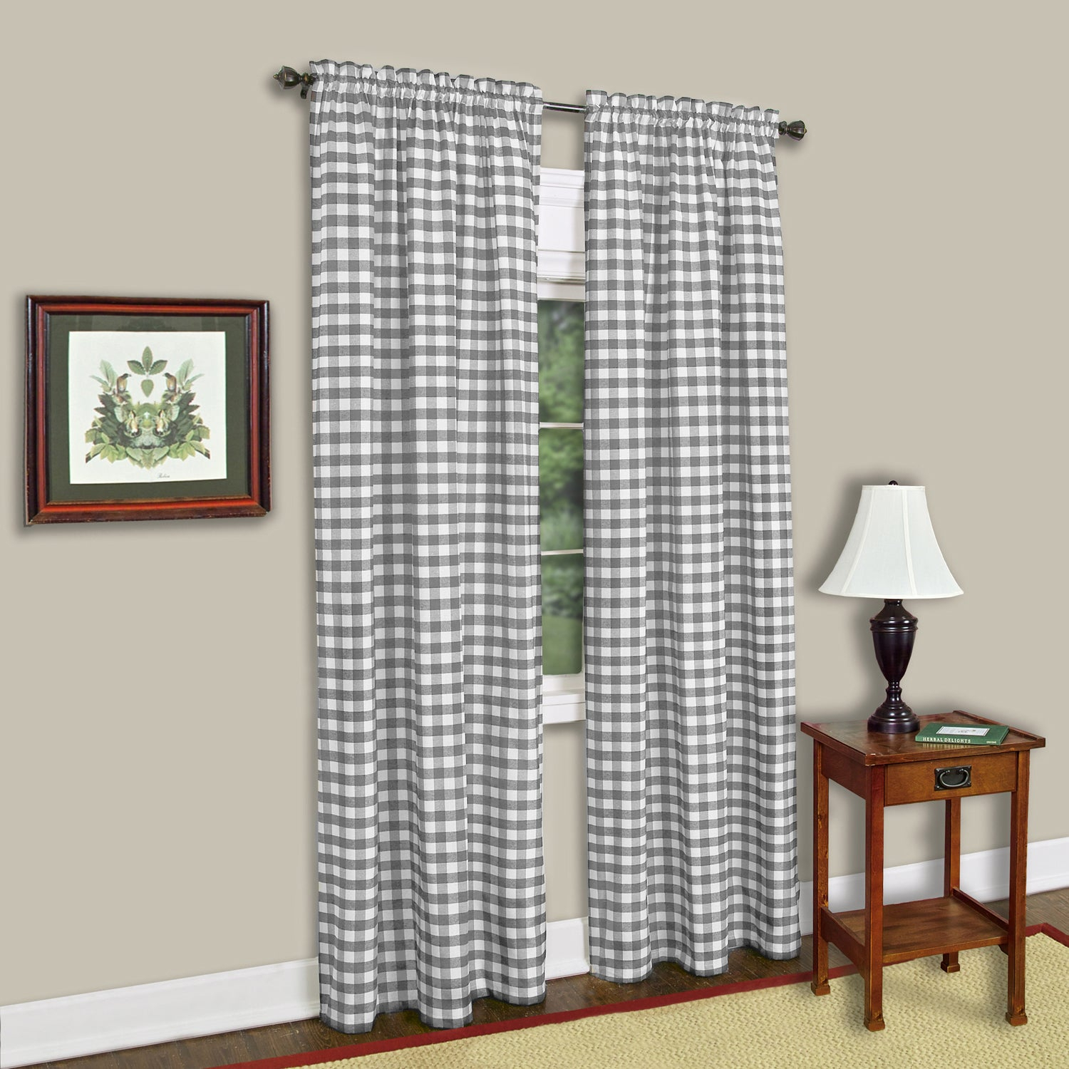 Buffalo Check Grey Cotton Blend Window Curtain Panel Within Grainger Buffalo Check Blackout Window Curtains (View 7 of 20)