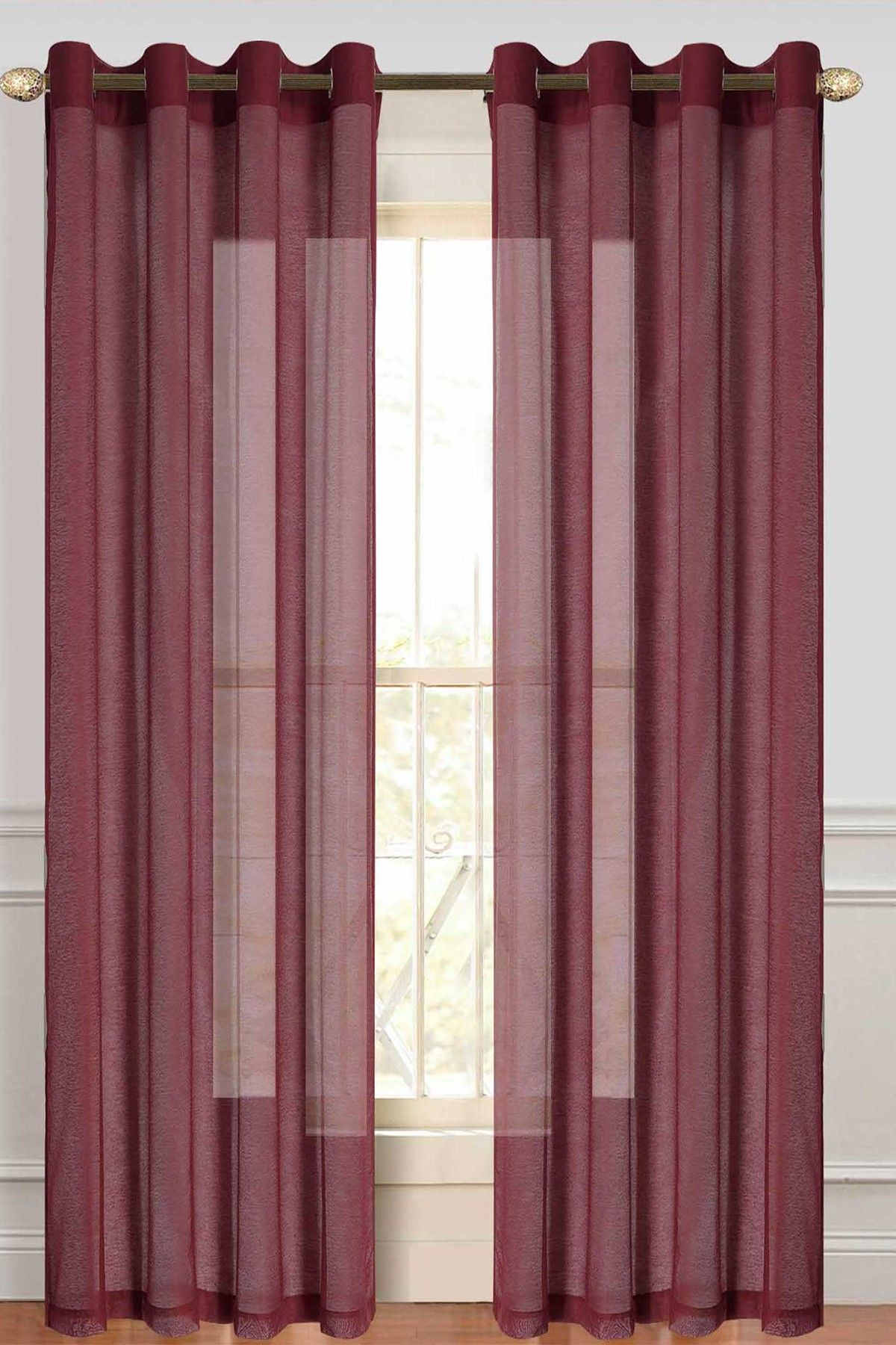 Burgundy Malibu Sheer Curtain – Set Of 2   Products Throughout Luxury Collection Monte Carlo Sheer Curtain Panel Pairs (View 9 of 20)