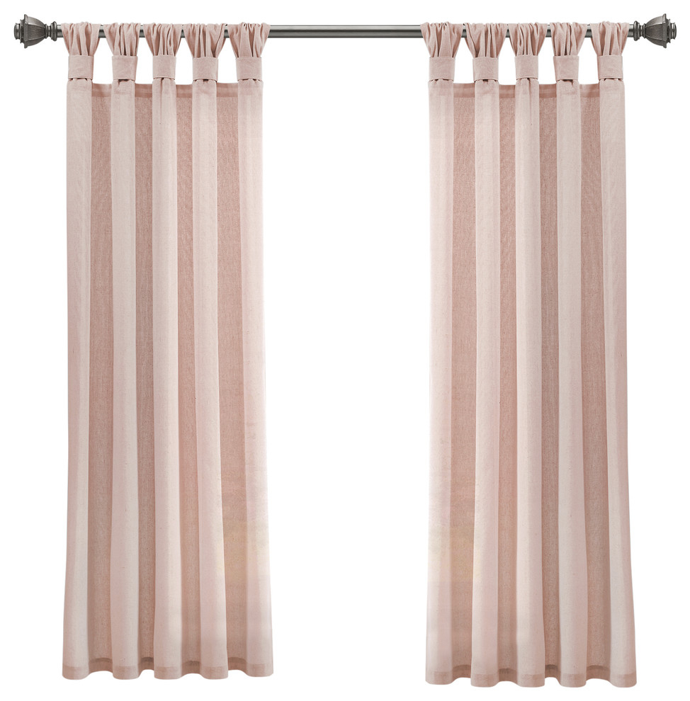 """Burlap Knotted Tab Top, Blush, Pair, 45""""x84"""" Intended For Knotted Tab Top Window Curtain Panel Pairs (View 9 of 20)"""