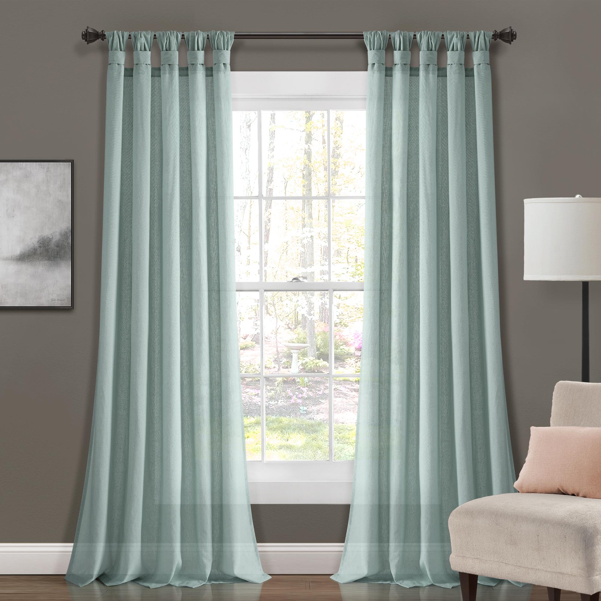 Burlap Knotted Tab Top Window Curtain Pair Panels – Brickseek Within Fretwork Print Pattern Single Curtain Panels (View 20 of 20)