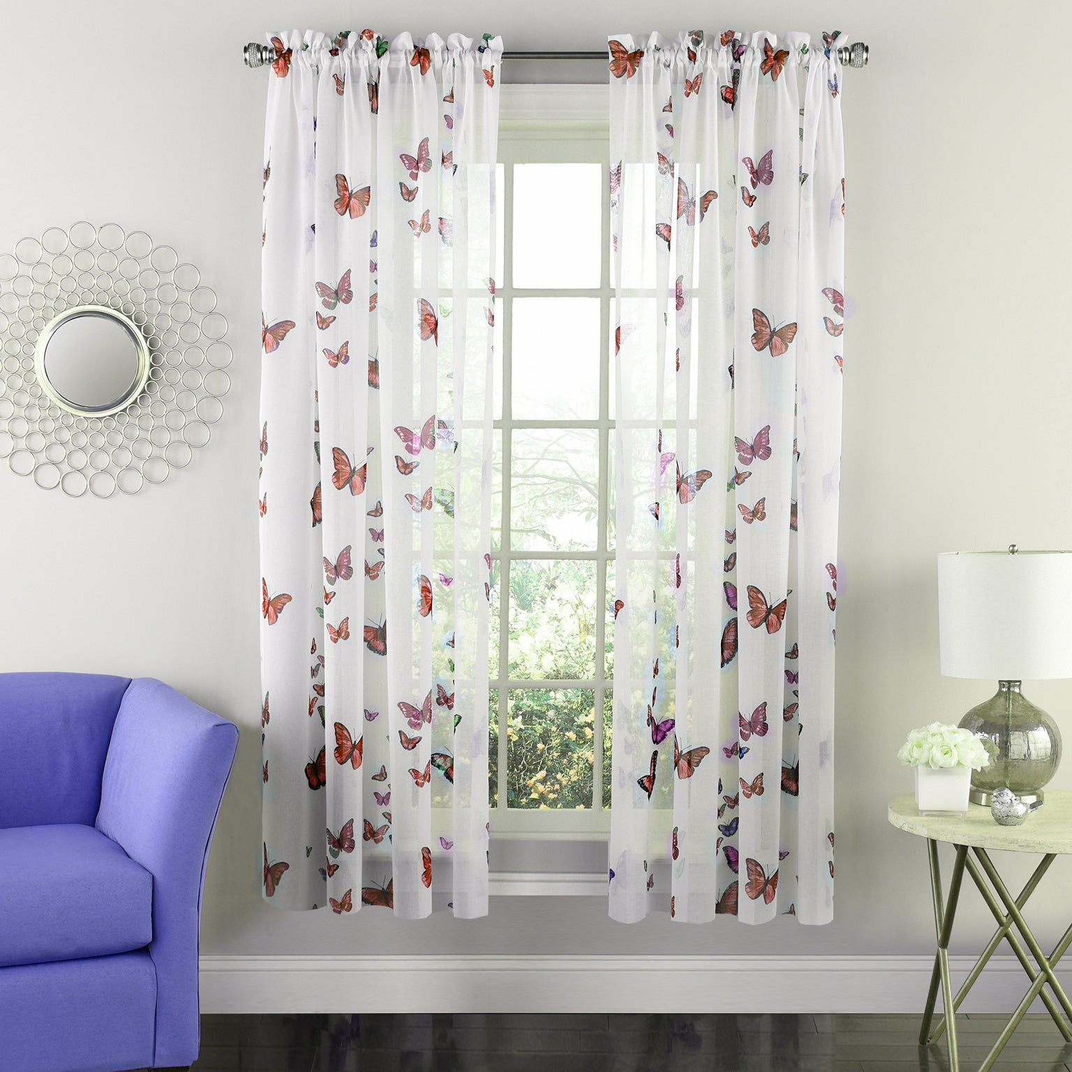 Butterflies Semi Sheer 63 Inch Tailored Window Curtain Panel – 63x54 Throughout Willow Rod Pocket Window Curtain Panels (View 22 of 30)
