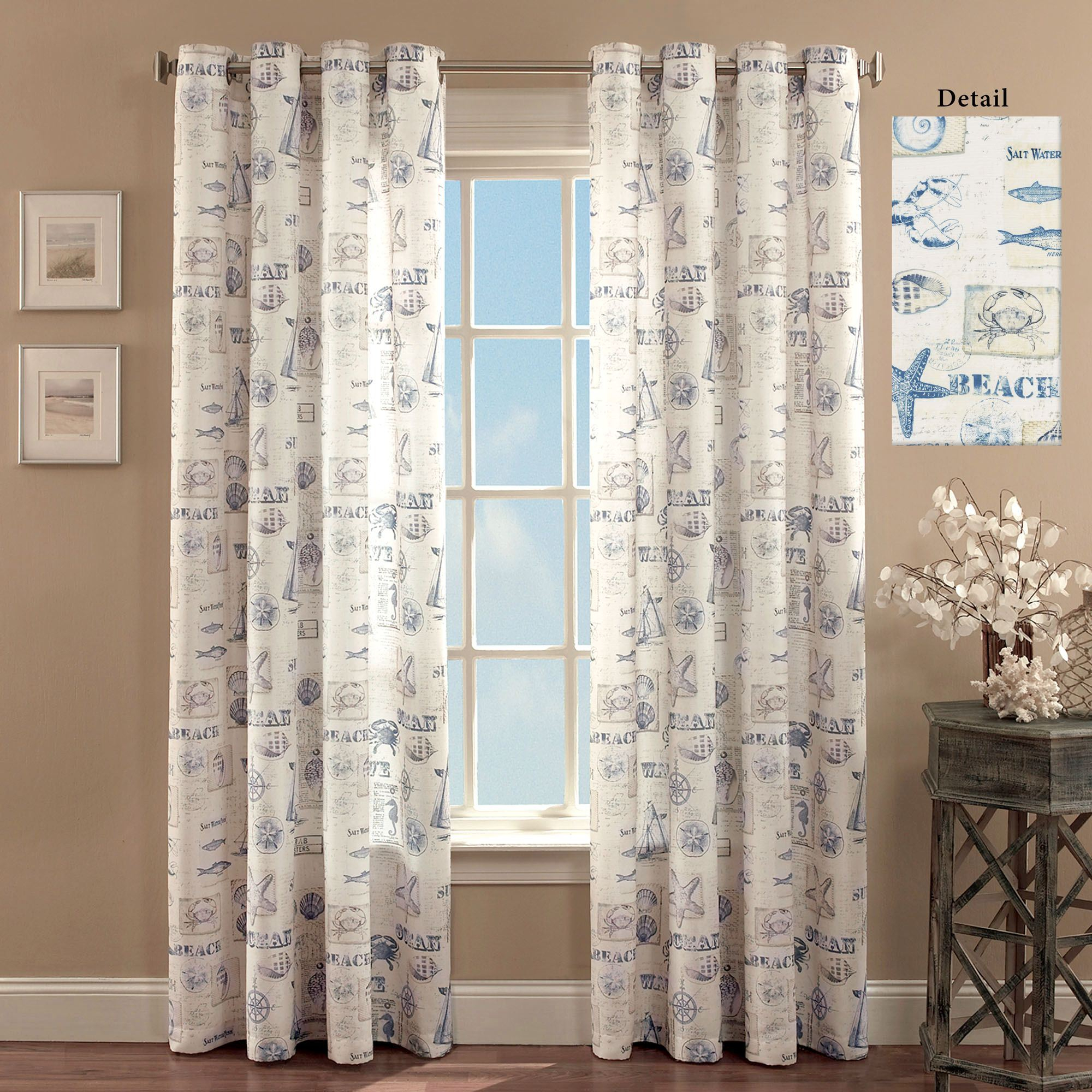 By The Seaside Coastal Grommet Curtain Panels Within Luxury Collection Summit Sheer Curtain Panel Pairs (View 7 of 20)