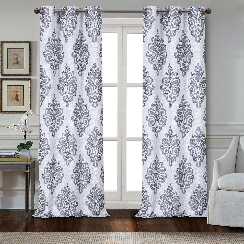 Cahawba Textured Appliqué Damask Room Darkening Grommet Panel Pair For Andorra Watercolor Floral Textured Sheer Single Curtain Panels (View 13 of 20)