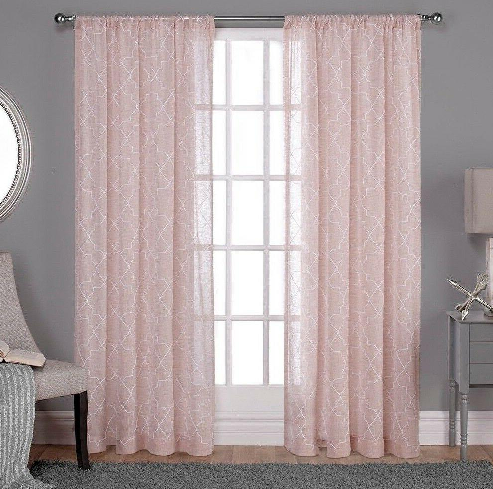 Cali Embroidered Sheer Window Curtain Pa Within Delano Indoor/outdoor Grommet Top Curtain Panel Pairs (View 17 of 20)