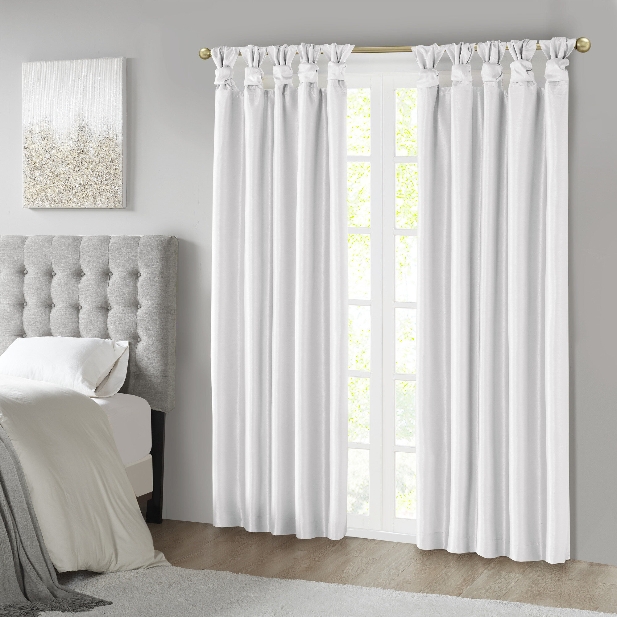 Campbelltown Solid Color Blackout Tab Top Single Curtain Panel Throughout Knotted Tab Top Window Curtain Panel Pairs (View 16 of 20)