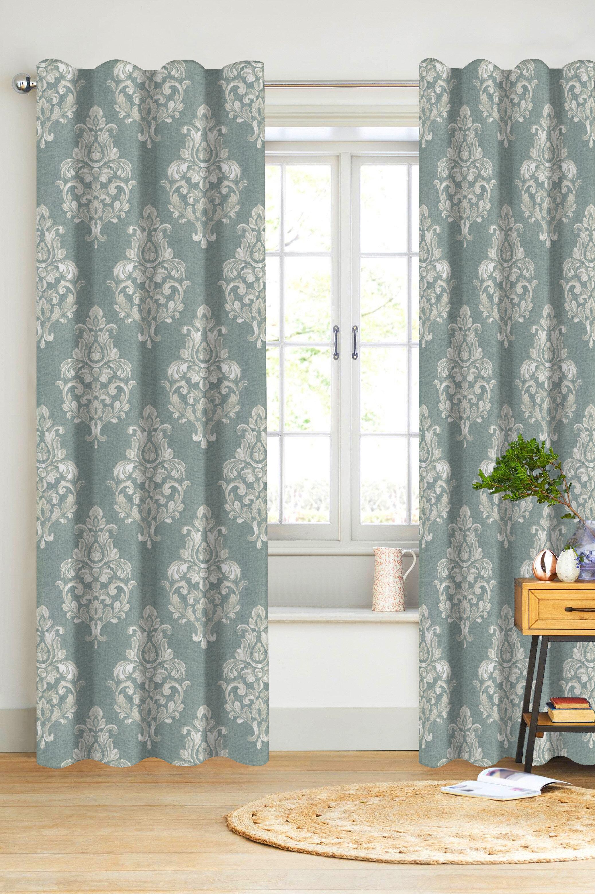 Canora Grey Shoemaker Damask Semi Sheer Curtain Panels | Wayfair Throughout Grey Printed Curtain Panels (View 15 of 20)